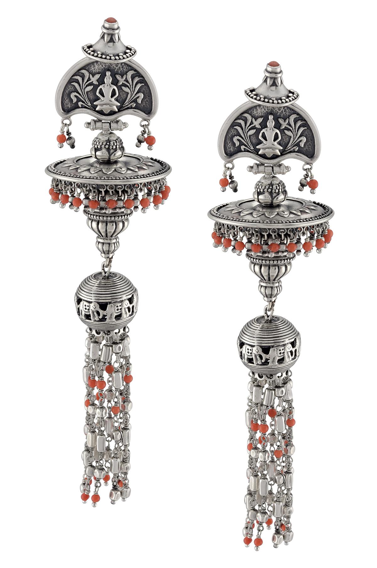 Silver Maurya Beaded Drop Earrings