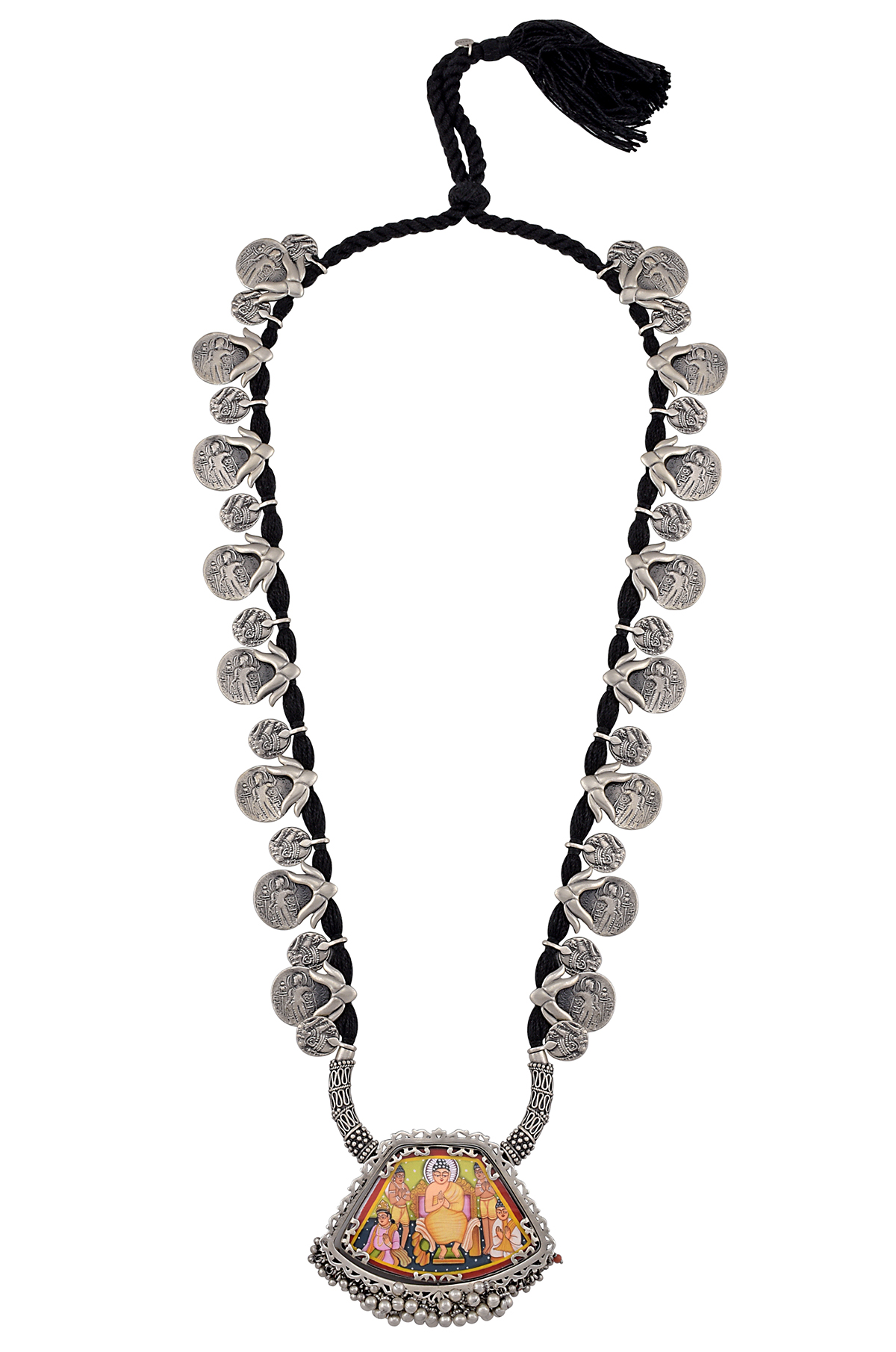 Silver Buddha Painting Thread Necklace