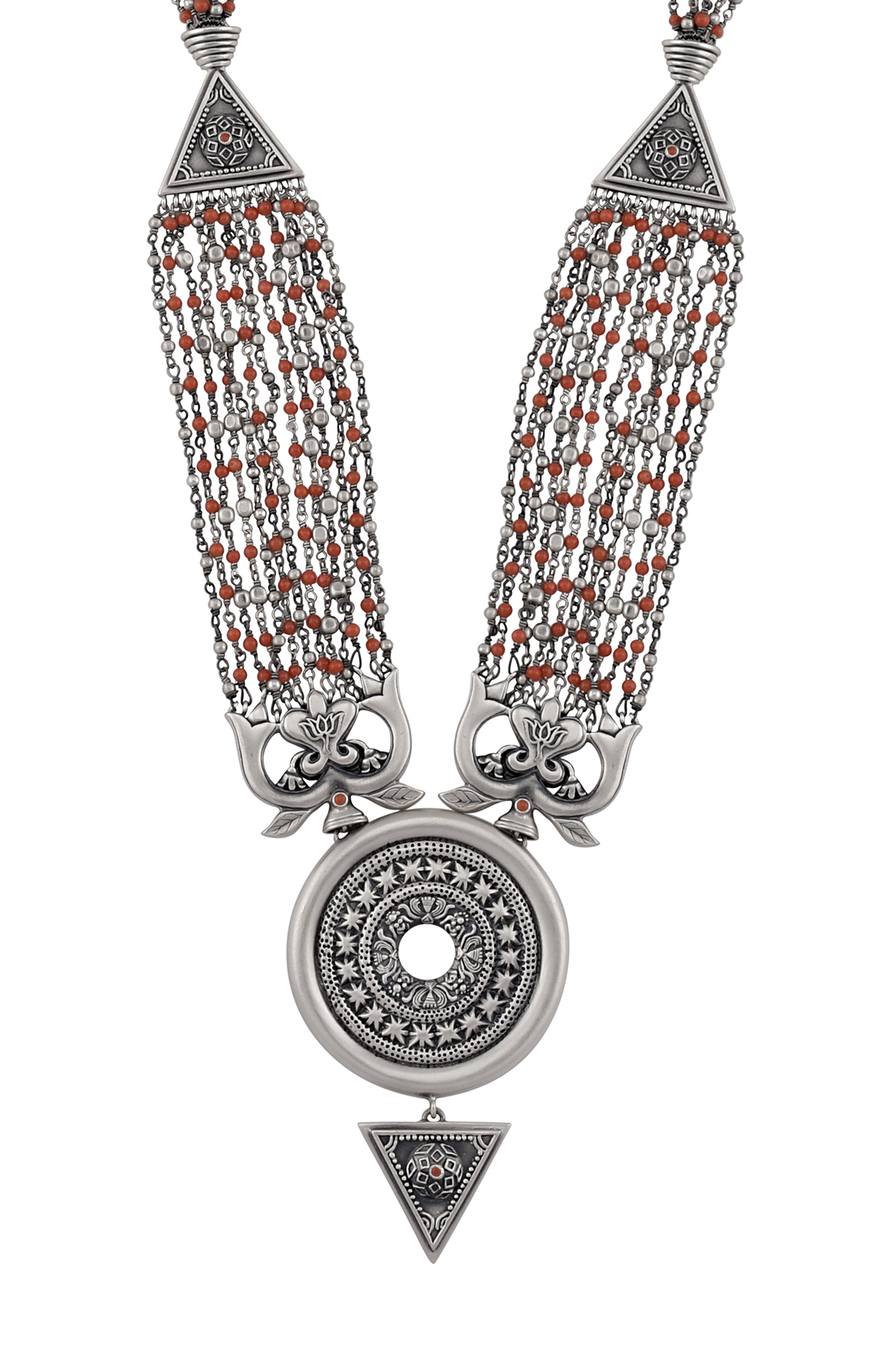 Silver Intricate Radial Beaded Necklace