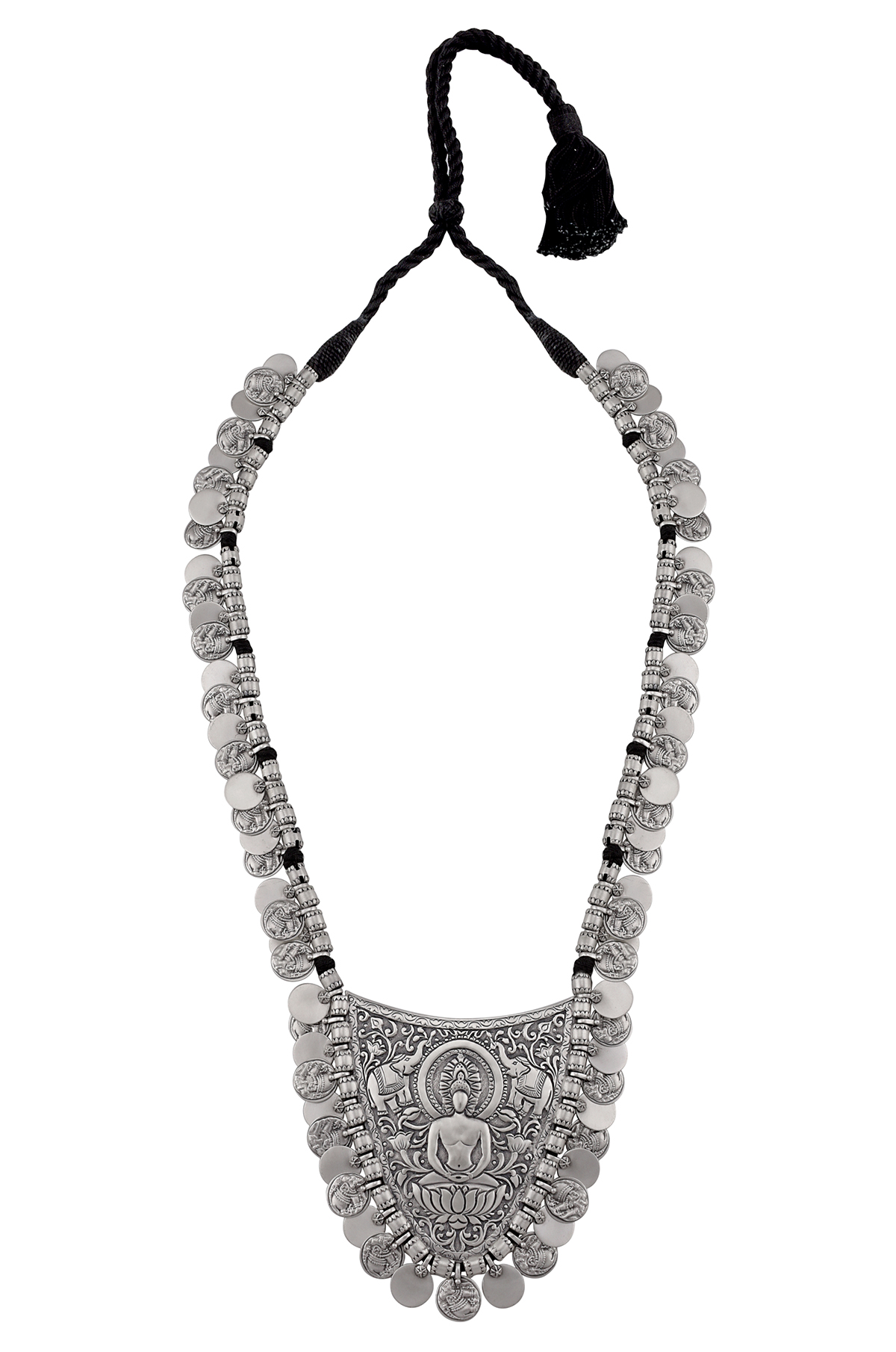 Silver Oxidised Buddha Elephant Coin Necklace