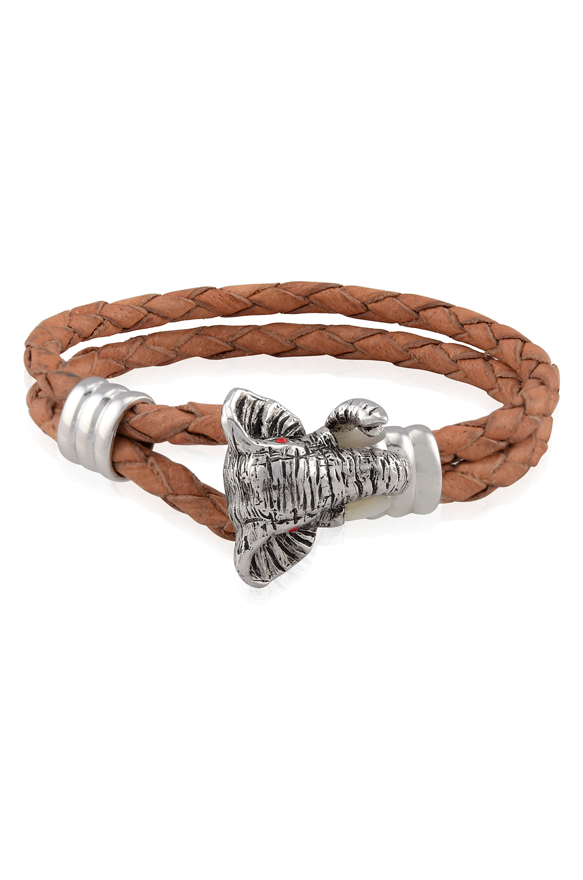 Silver Elephant Head Hook Tan Braided Leather Bracelet