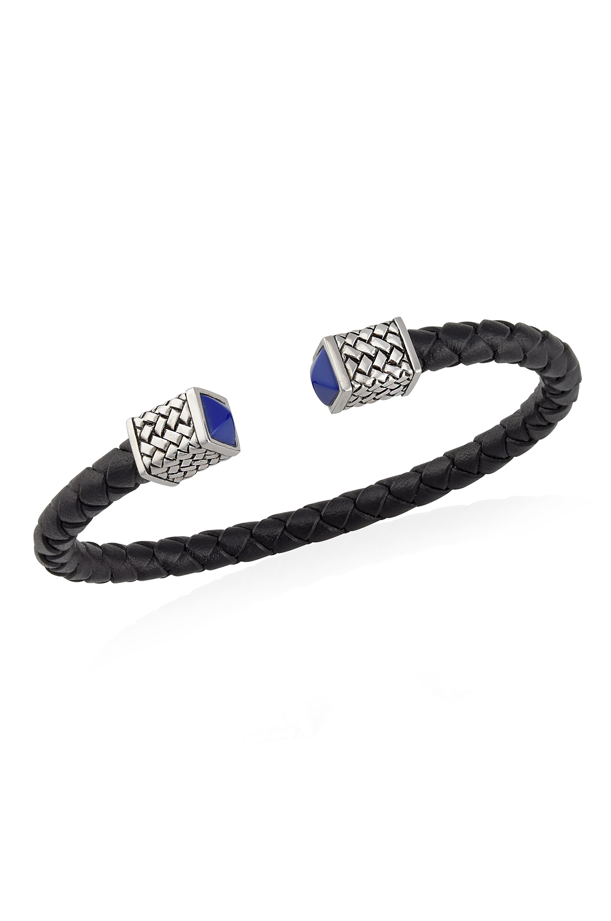 Silver Lapis Black Braided Textured Leather Cuff
