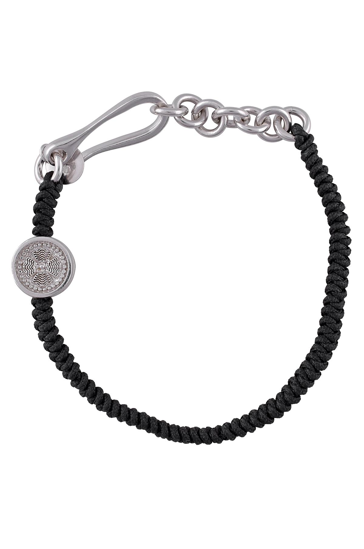 Silver Om Disc Fish Braid Bracelet