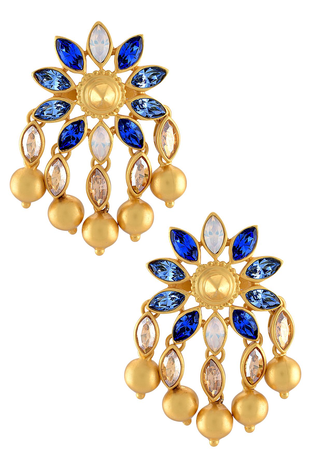Swarovski Blue Flower Earrings