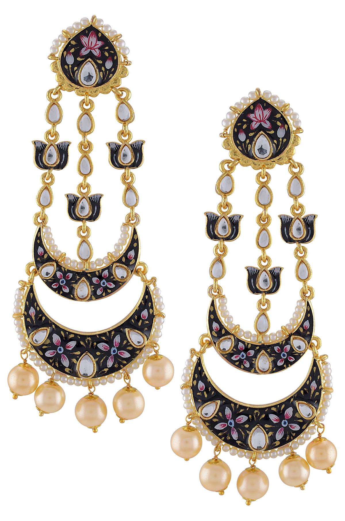 Gold Plated Black Enamelled Lotus Pearl Moon Earrings