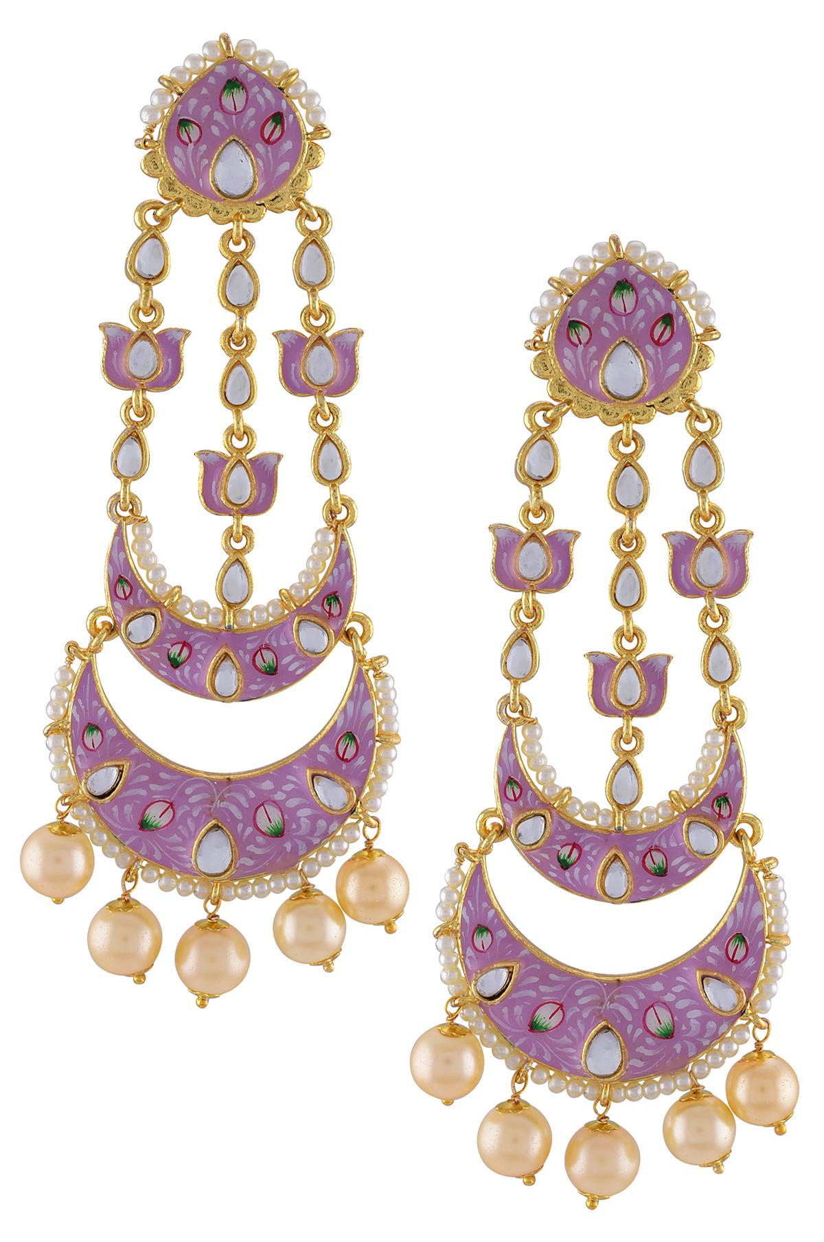 Gold Plated Pink Enamelled Lotus Pearl Moon Earrings