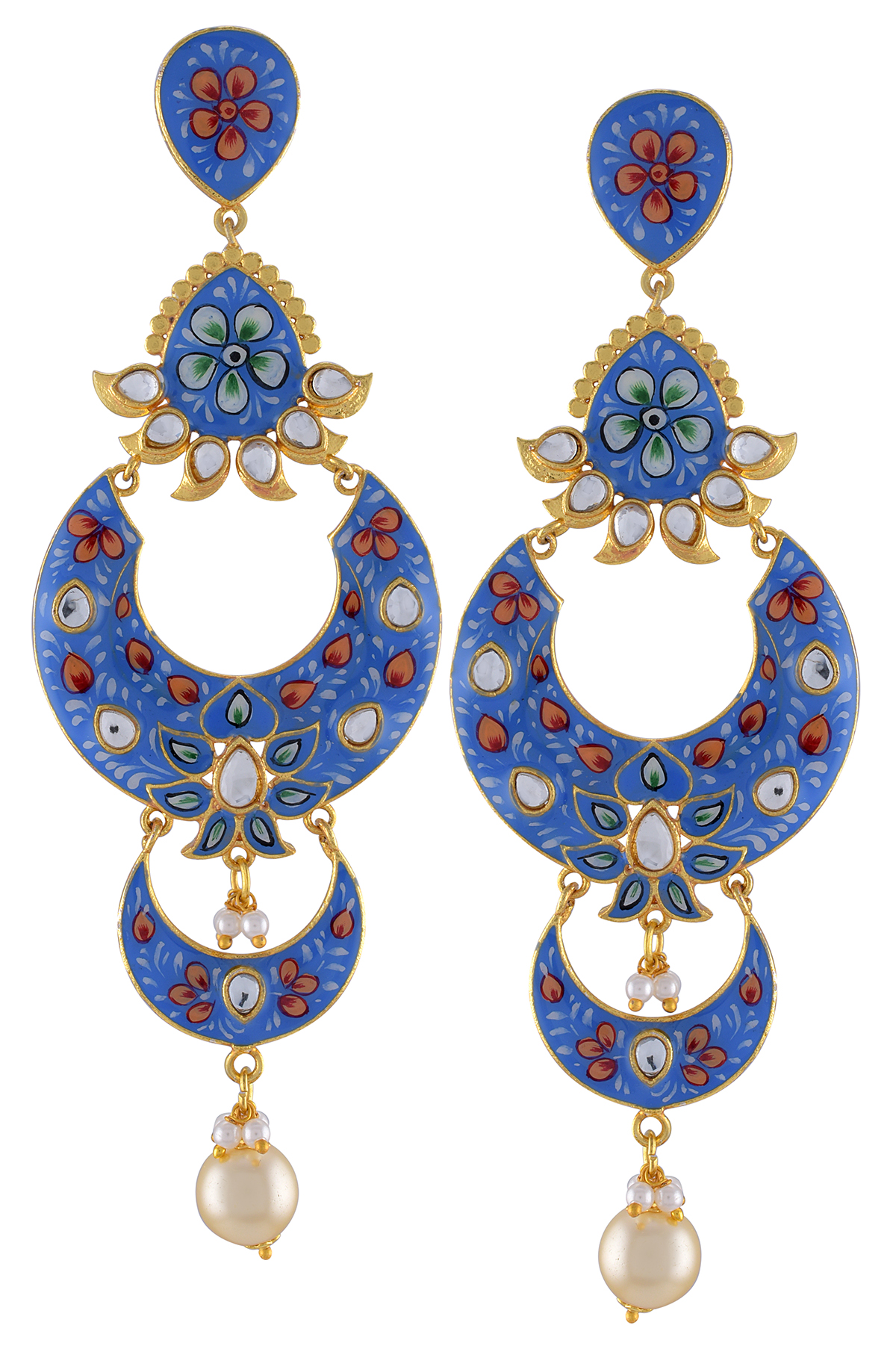 Gold Plated Blue Floral Enamelled Moon Pearl Earrings