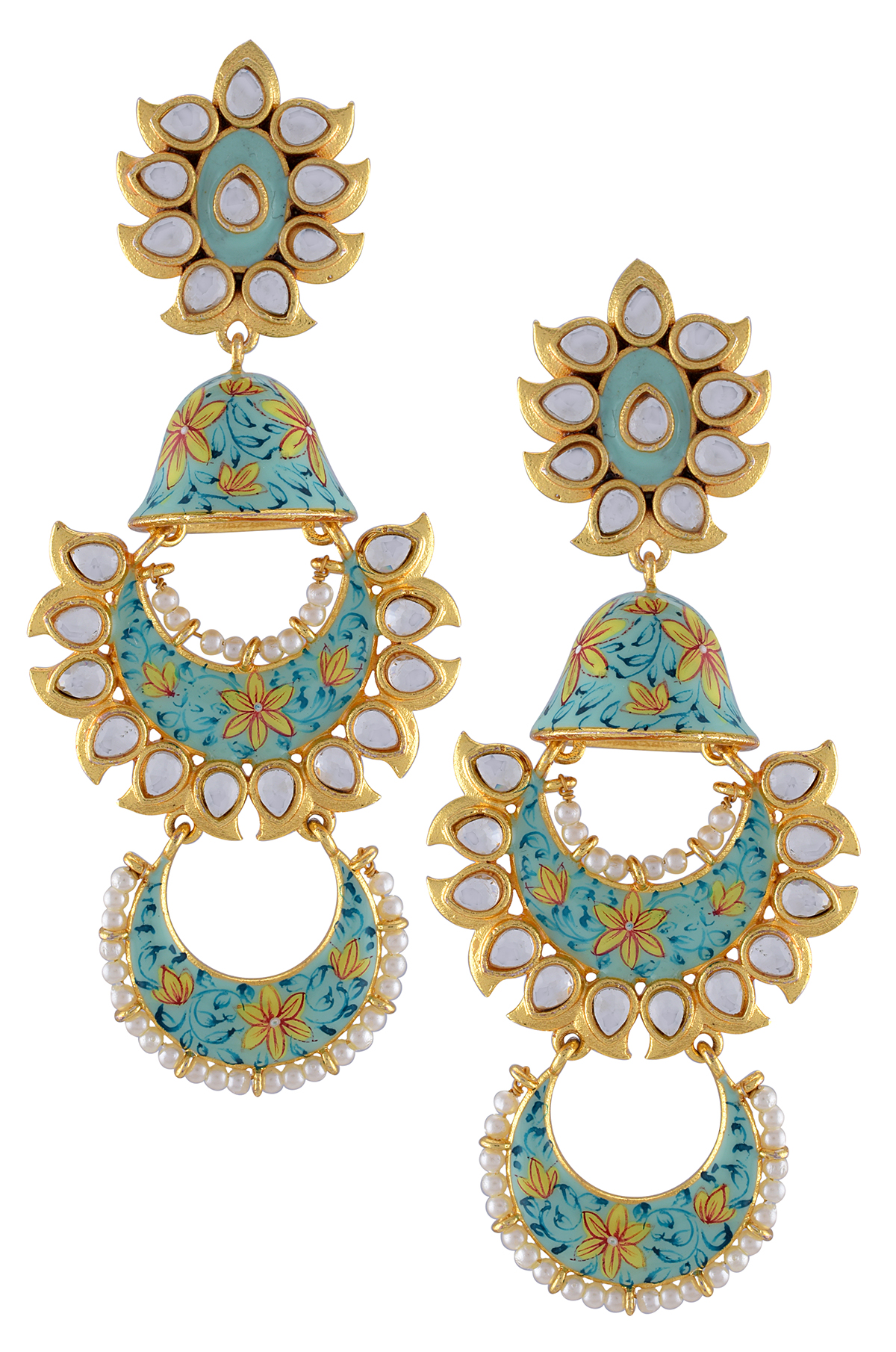 Gold Plated Sea Green Floral Enamelled Glass Jhumki