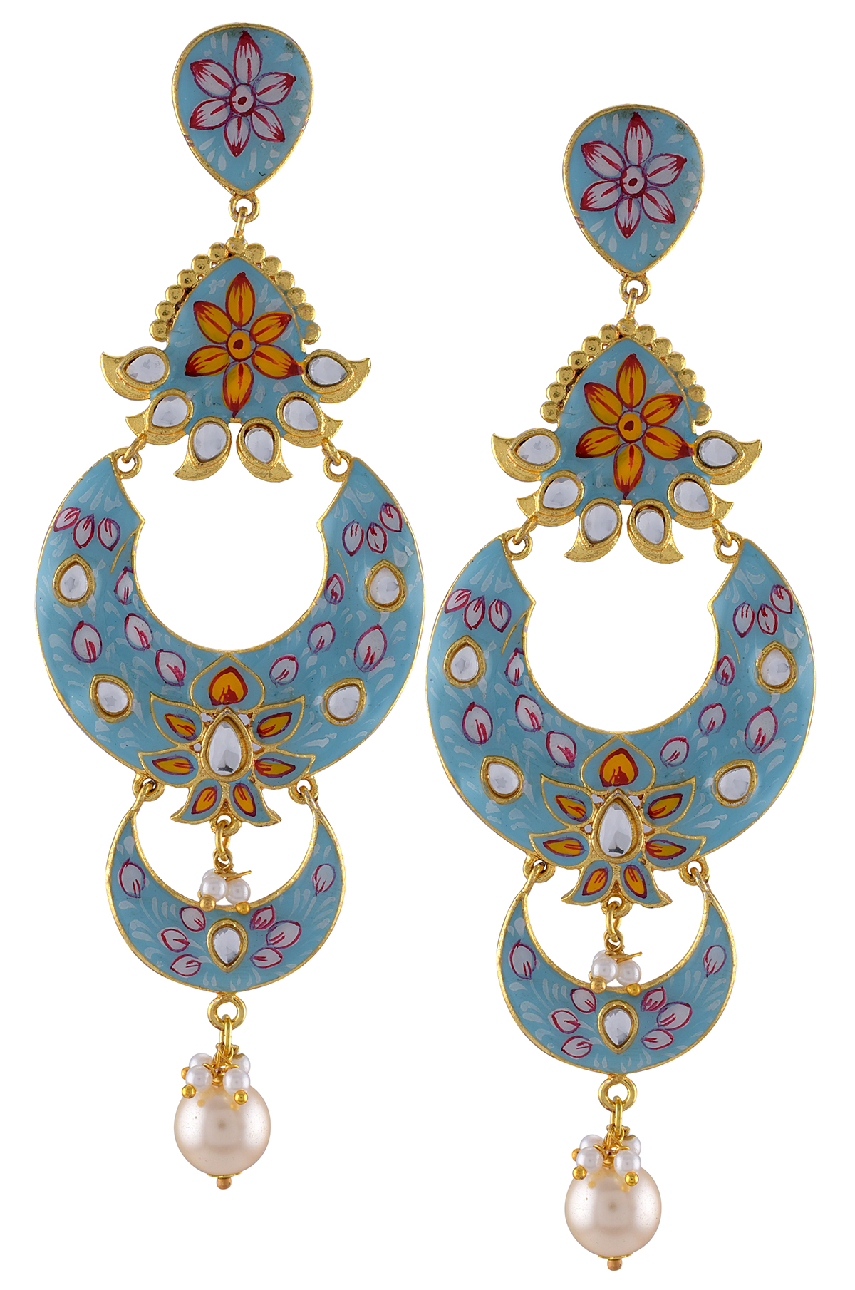 Gold Plated Aqua Flower Enamelled Glass Moon Earrings