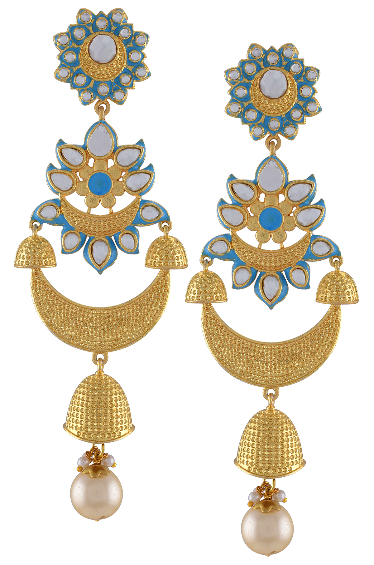 Gold Plated Aqua Enamel Floral Textured Moon Jhumki