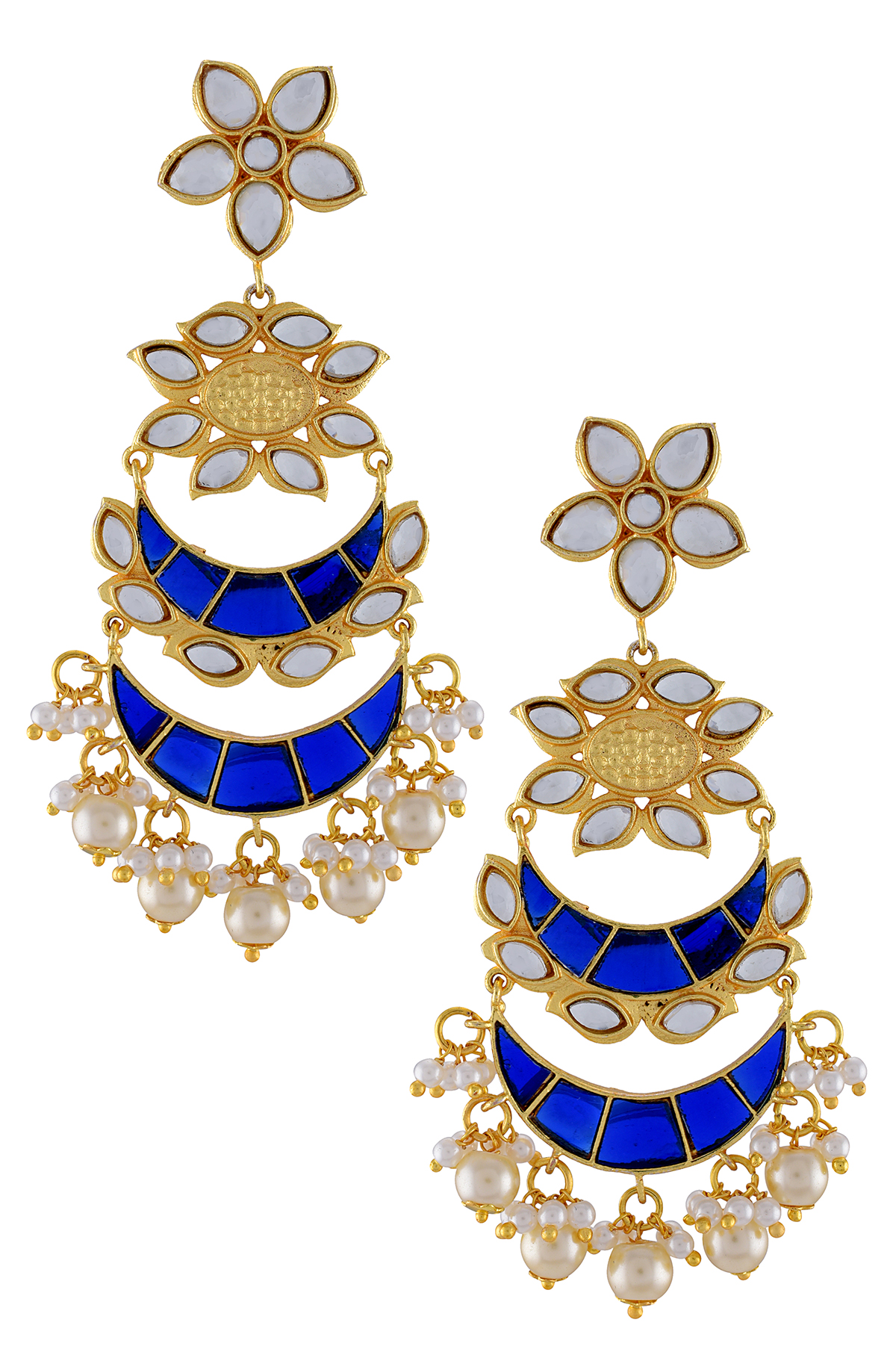 Gold Plated Blue Enamel Moon Pearl Flower Earrings