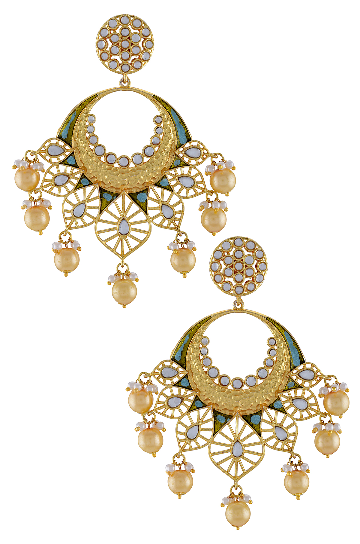 Gold Plated Enamelled Aqua Jaali Drop Earrings
