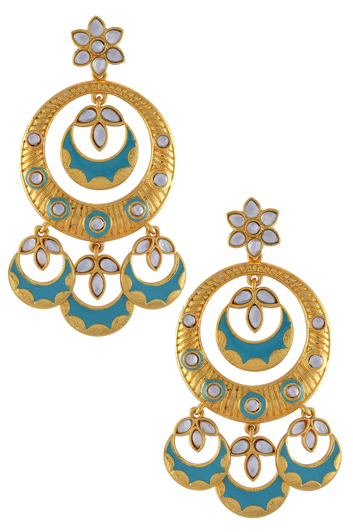 Gold Plated Aqua Enamel Glass Moon Earrings