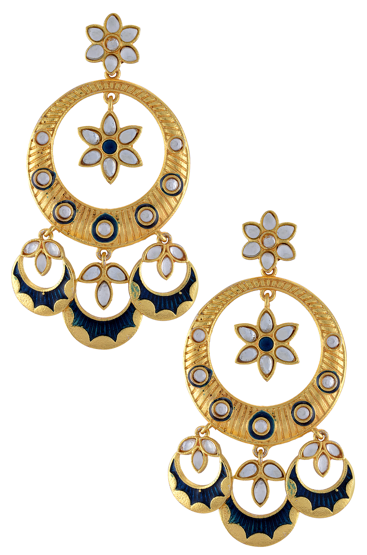 Gold Plated Blue Enamel Moon Drop Flower Earrings