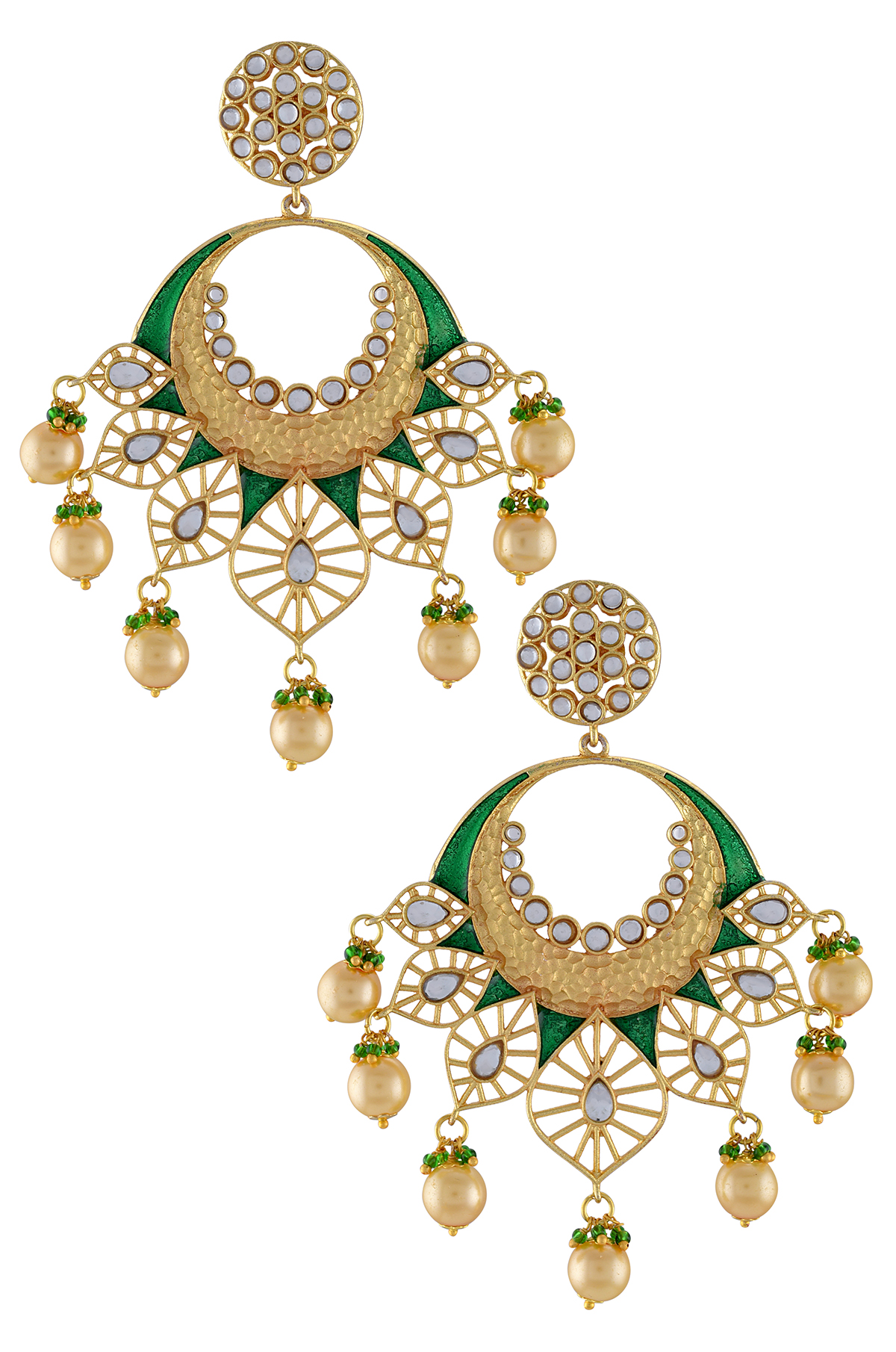 Gold Plated Green Jaali Glass Pearl Drop Earrings