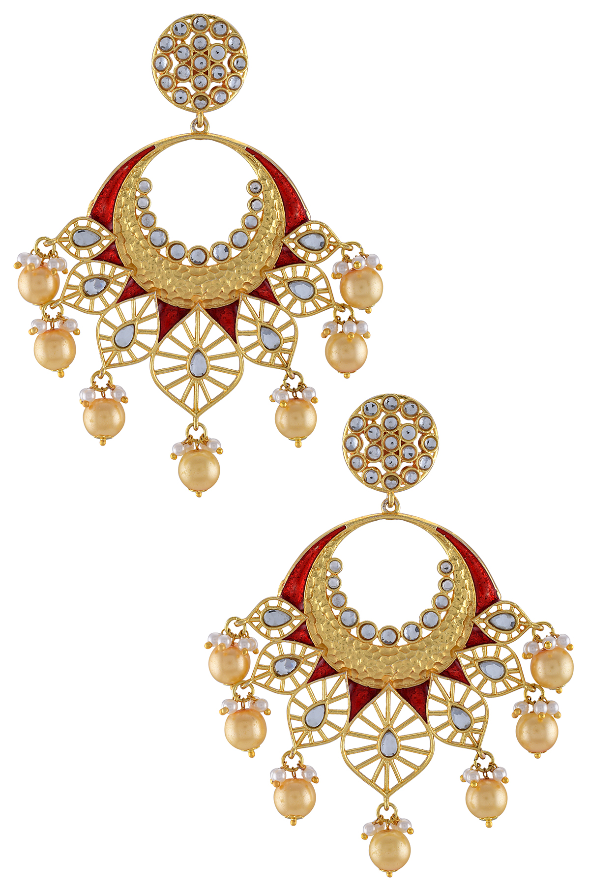 Gold Plated Drop Jaali Glass Red Pearl Earrings