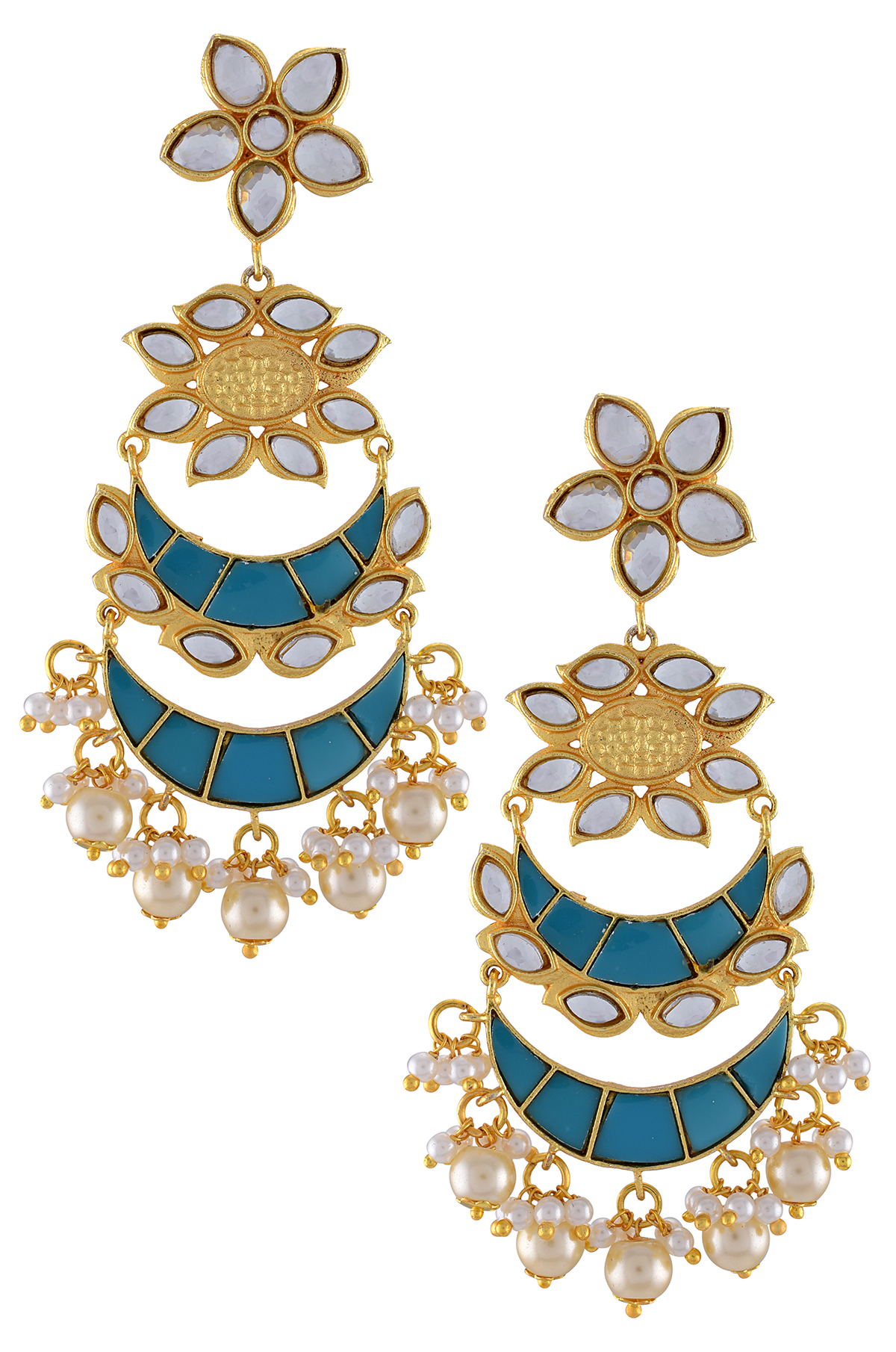 Gold Plated Turquoise Enamel Chand Flower Earrings