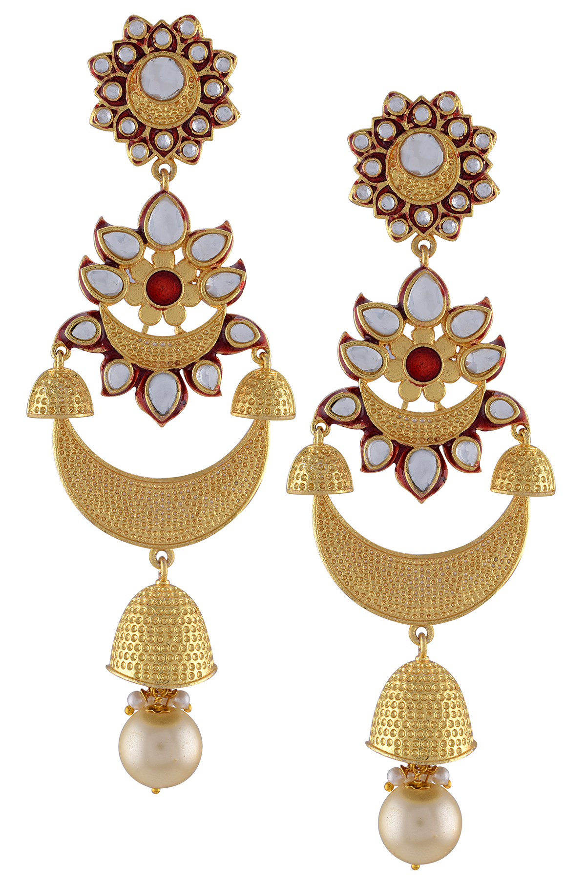 Gold Plated Floral Red Textured Glass Jhumki