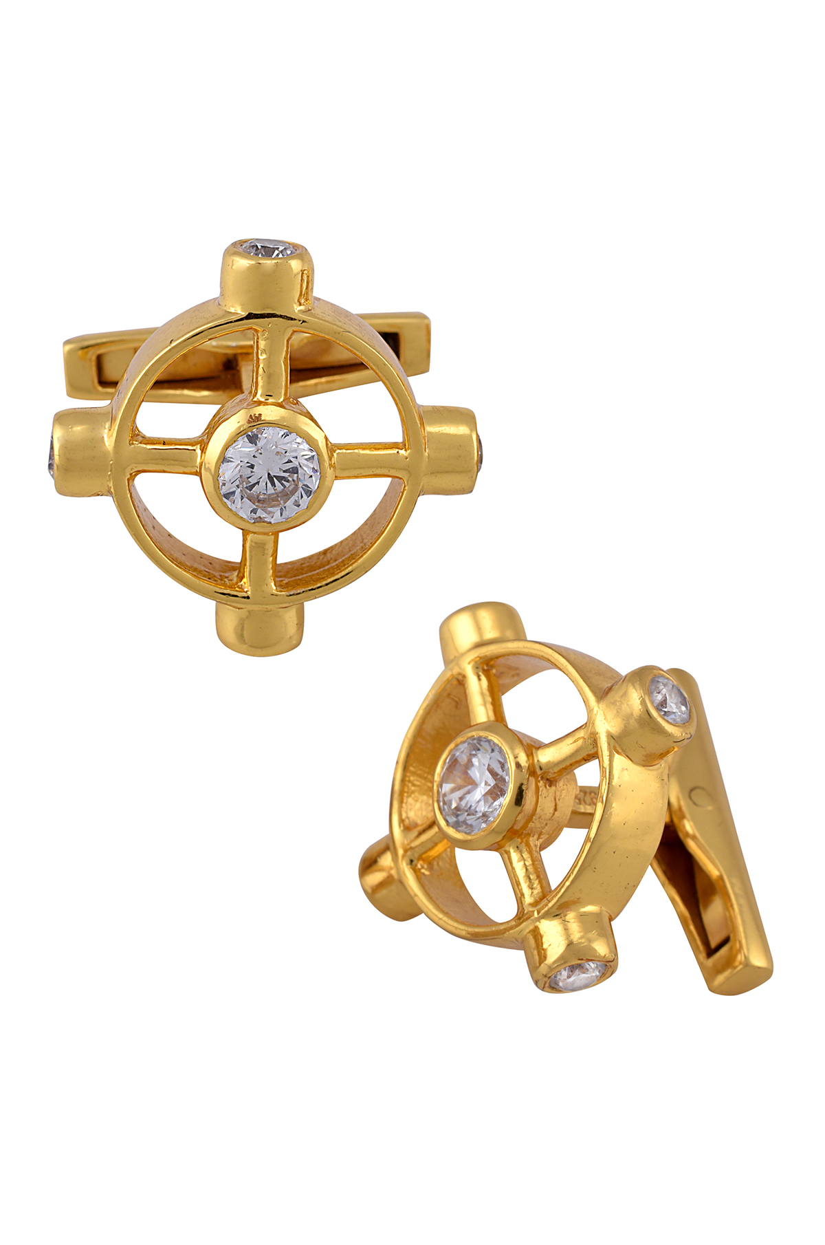 Silver Gold Plated Zircon Wheel Cufflinks
