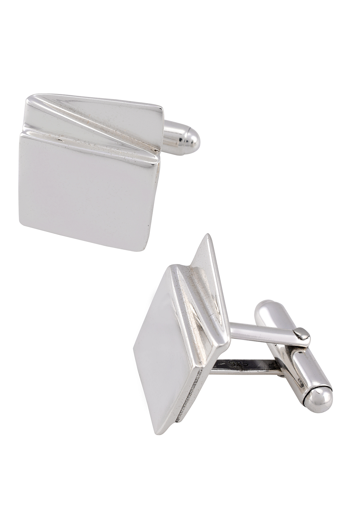 Silver Geometric Block Cufflinks