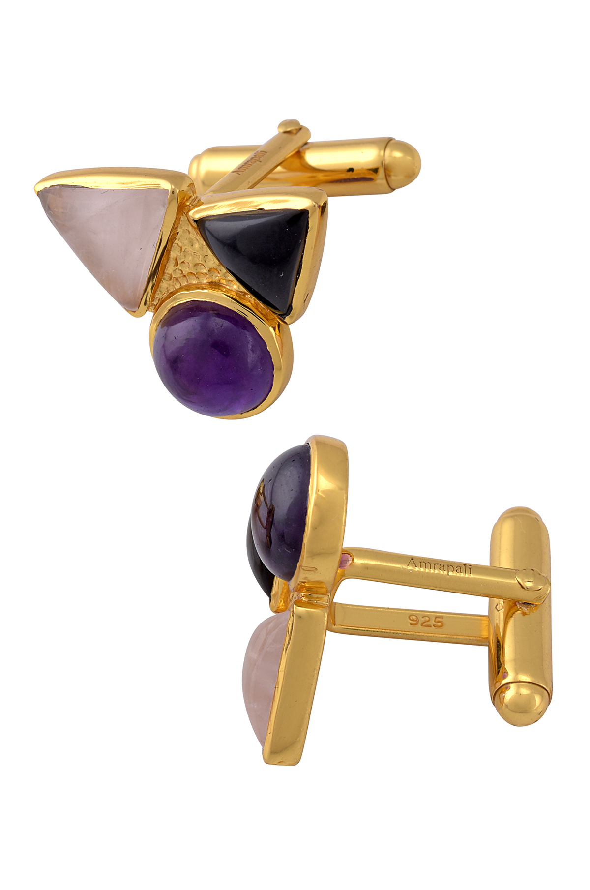 Silver Gold Plated Tri Stone Geometric Cufflinks