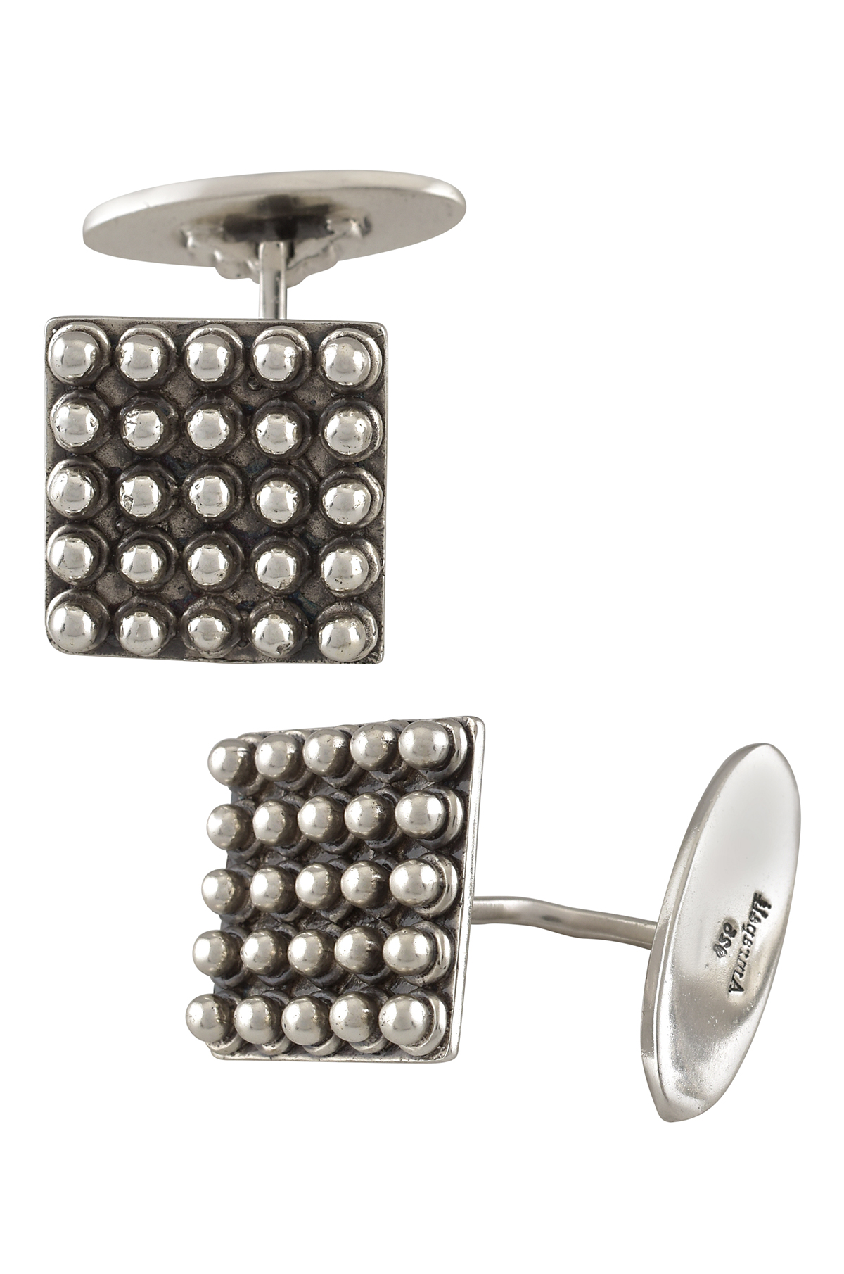 Silver Oxidised Square Rawa Cufflinks