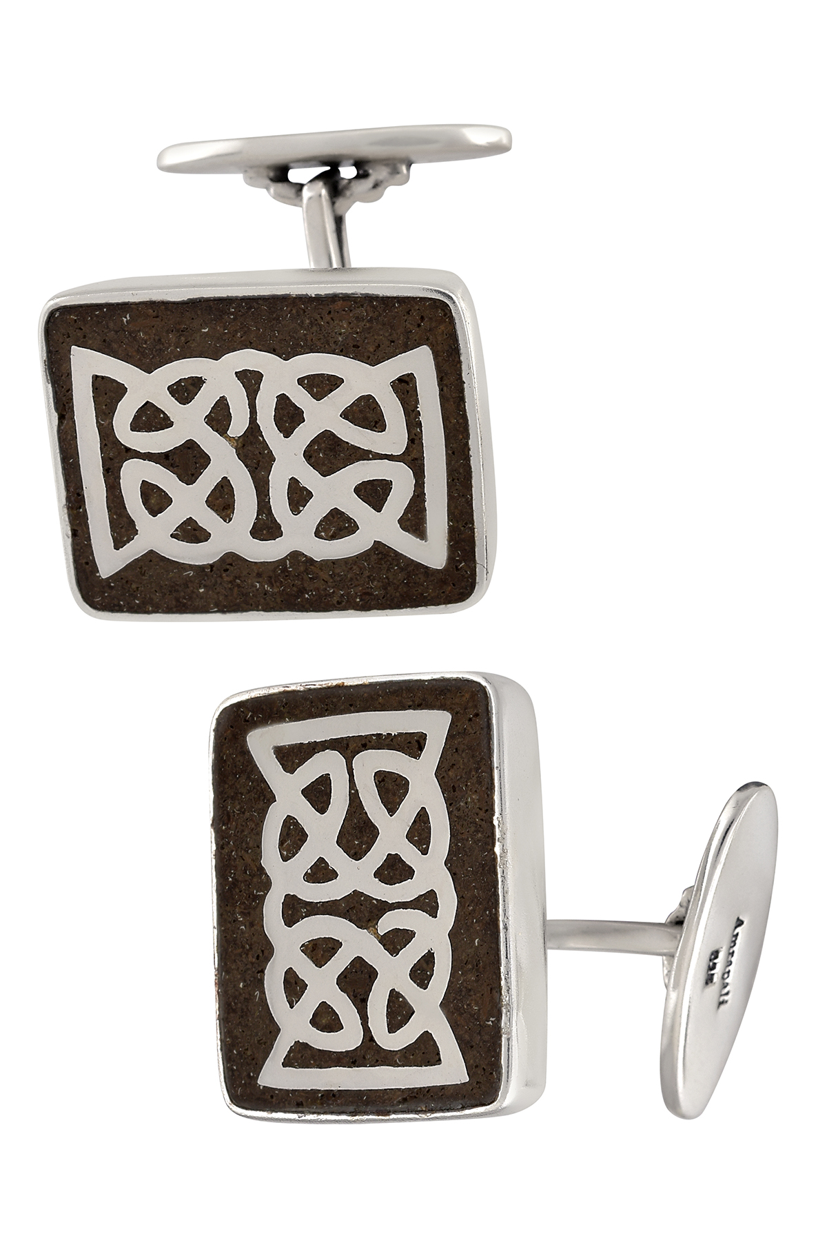Silver Textured Stone Abstract Overlay Cufflinks