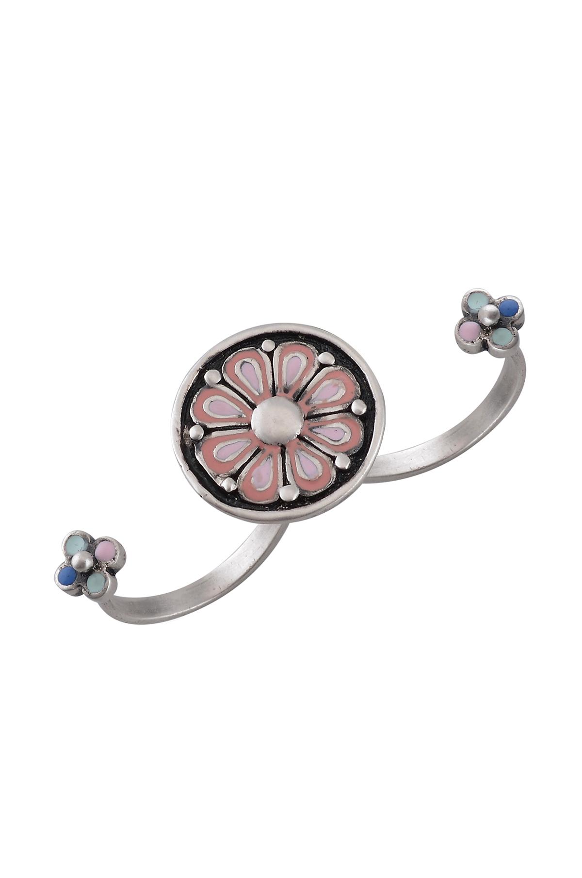 Pink Enamel Coin Ring