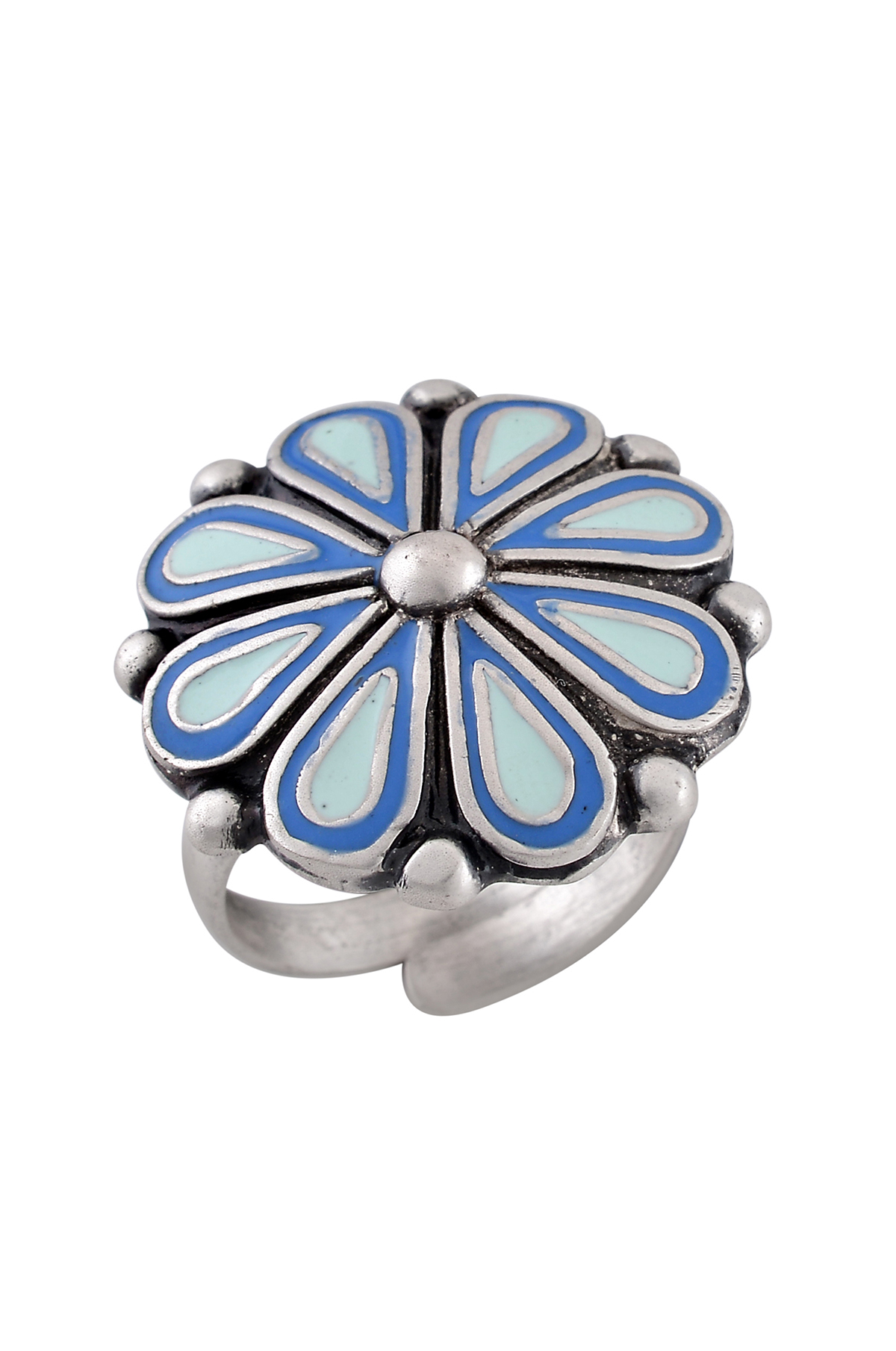 Blue Enamel Chandrika Flower Ring