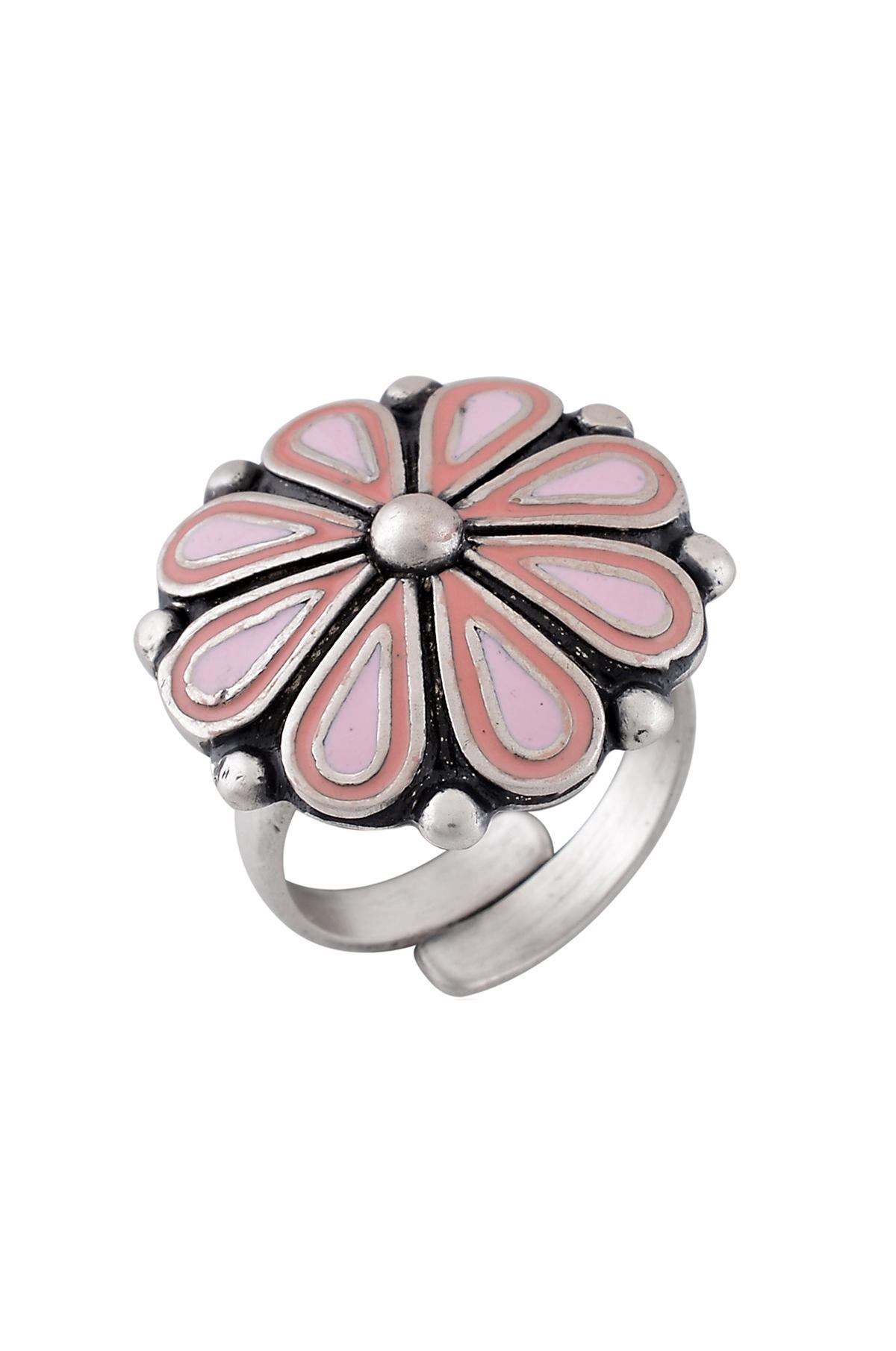 Pink Enamel Chandrika Flower Ring