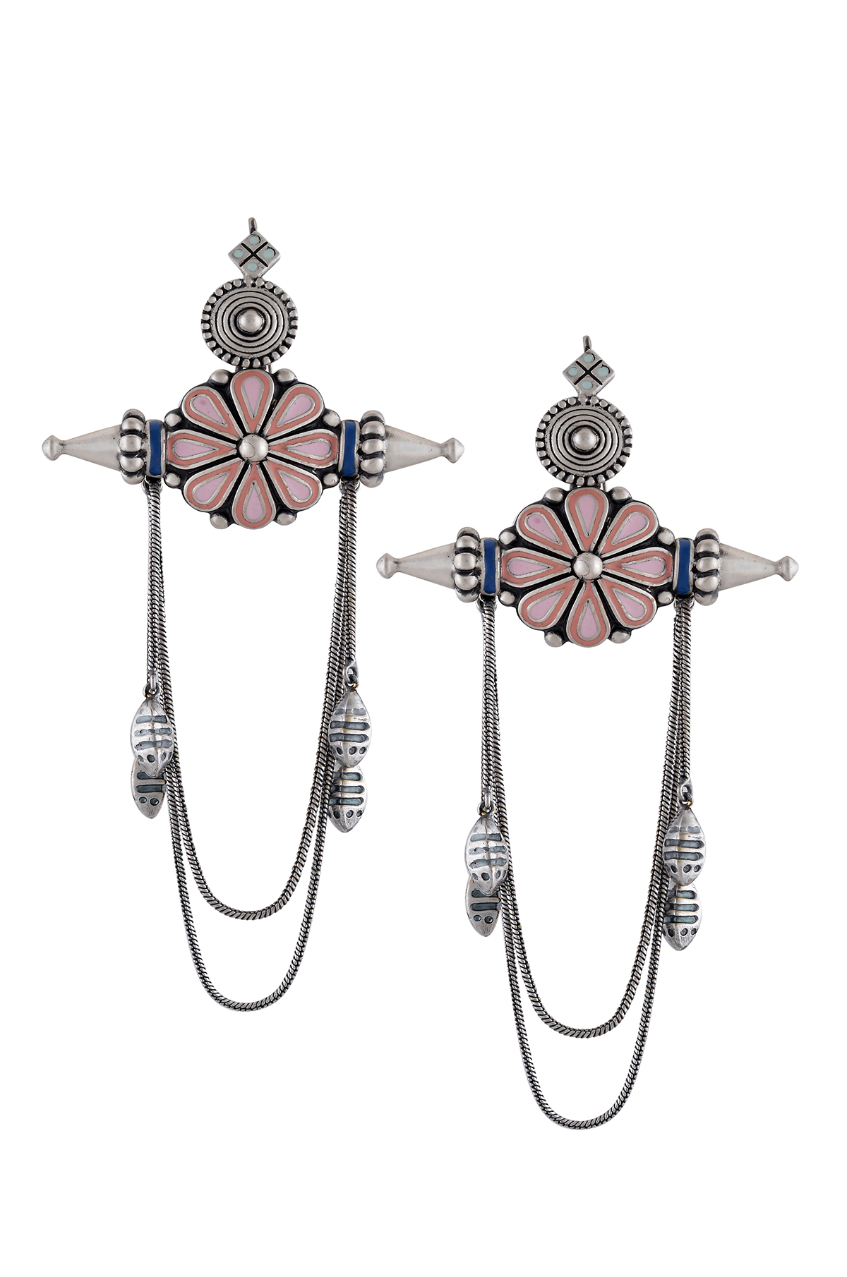 Pink Enamel Chandrika Flower Earrings