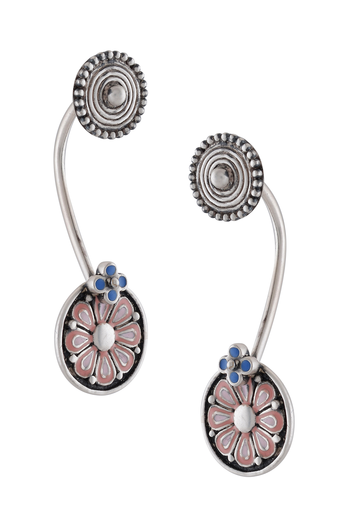 Pink Enamel and Coin Floating Earrings