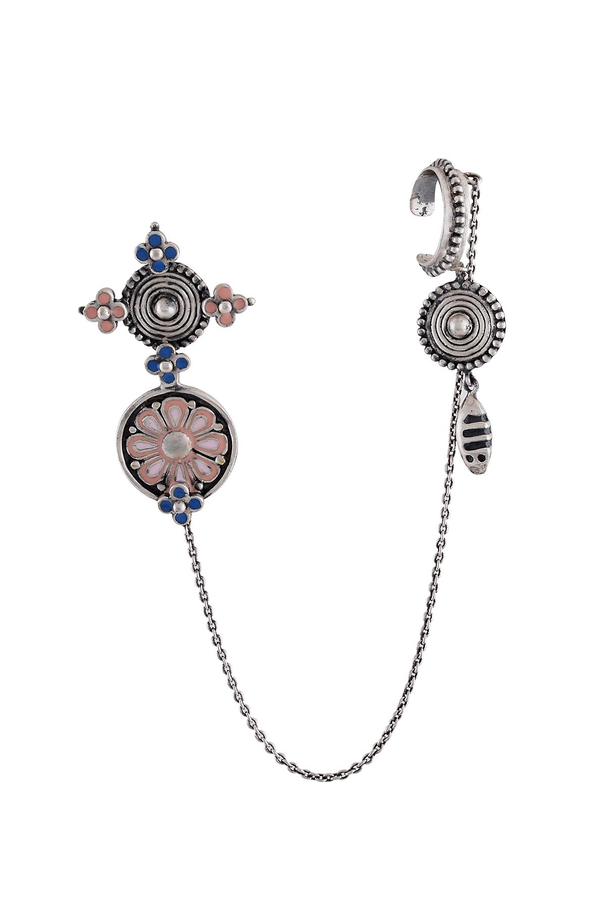 Pink Enamel Coin EarCuffs