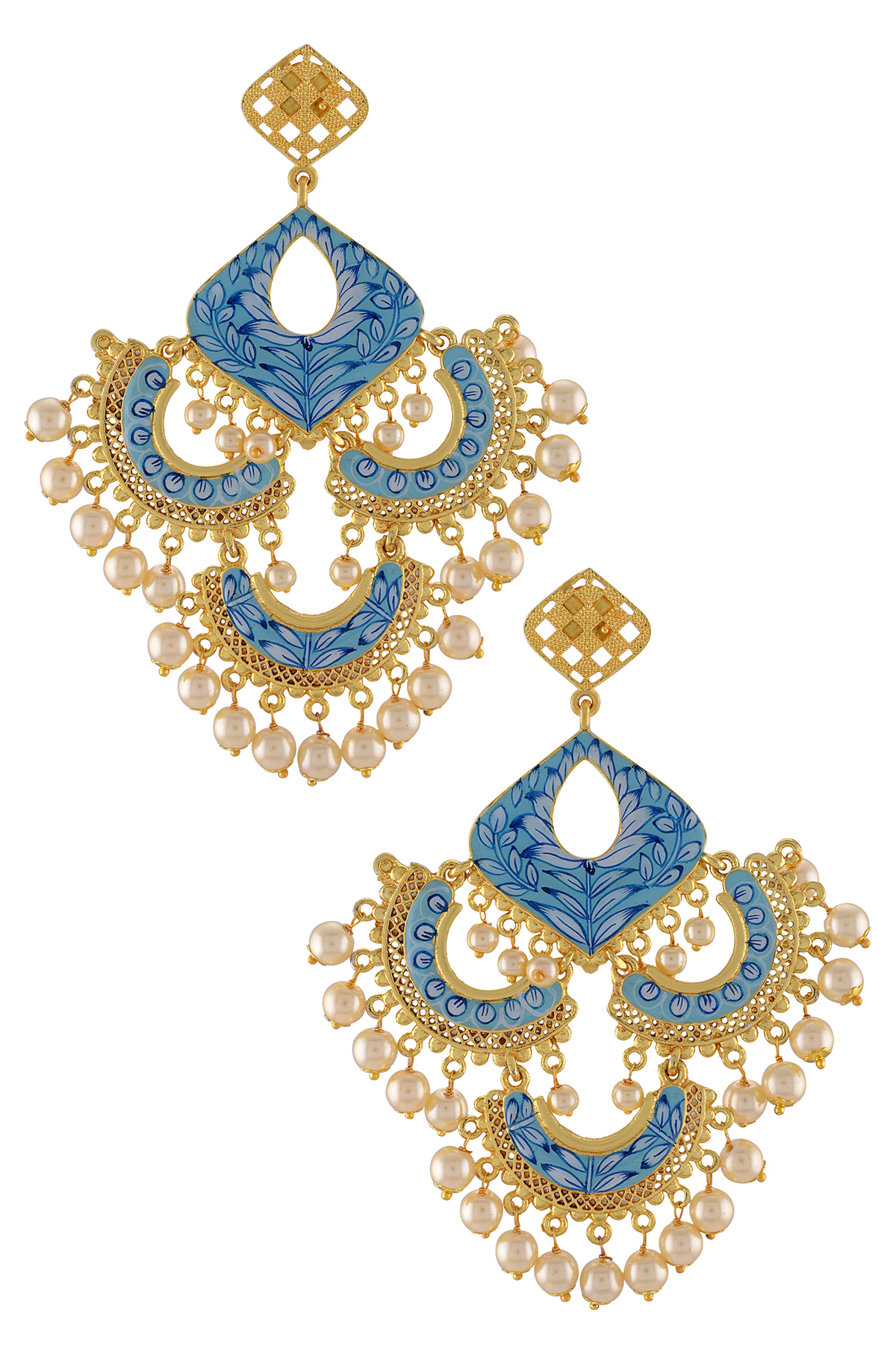 Gold Plated Blue Leafy Pearl Multi Moon Jaali Earrings