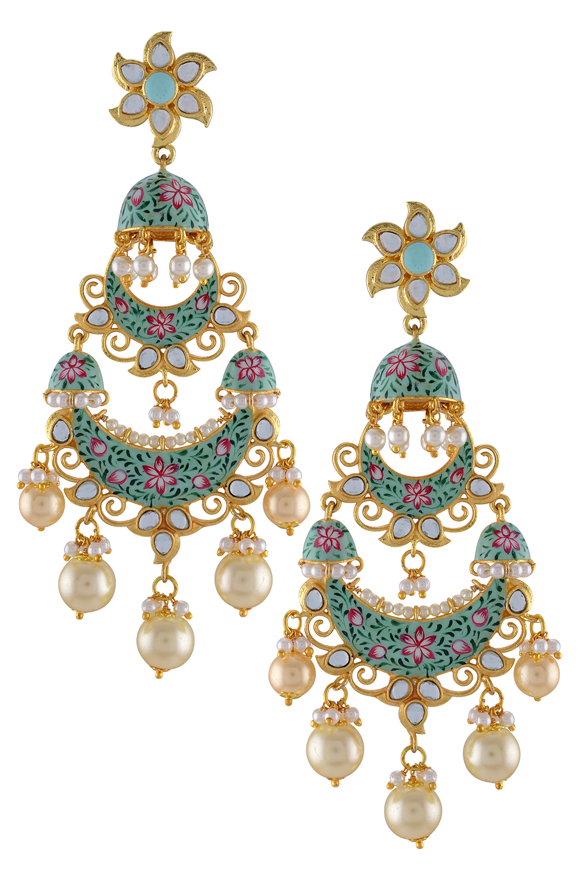 Gold Plated Sea Green Floral Jhumki Lotus Pearl Earrings