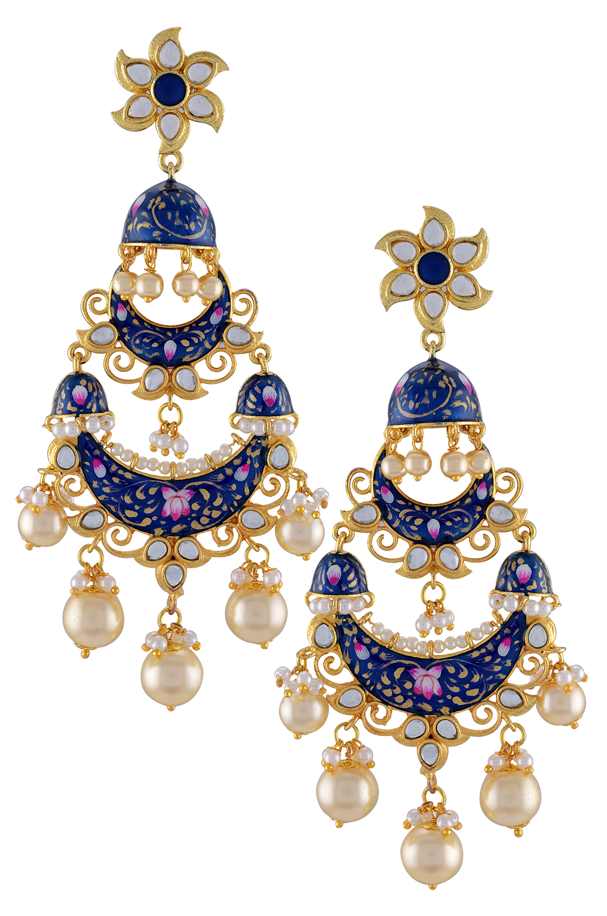 Gold Plated Dark Blue Floral Jhumki Lotus Pearl Earrings