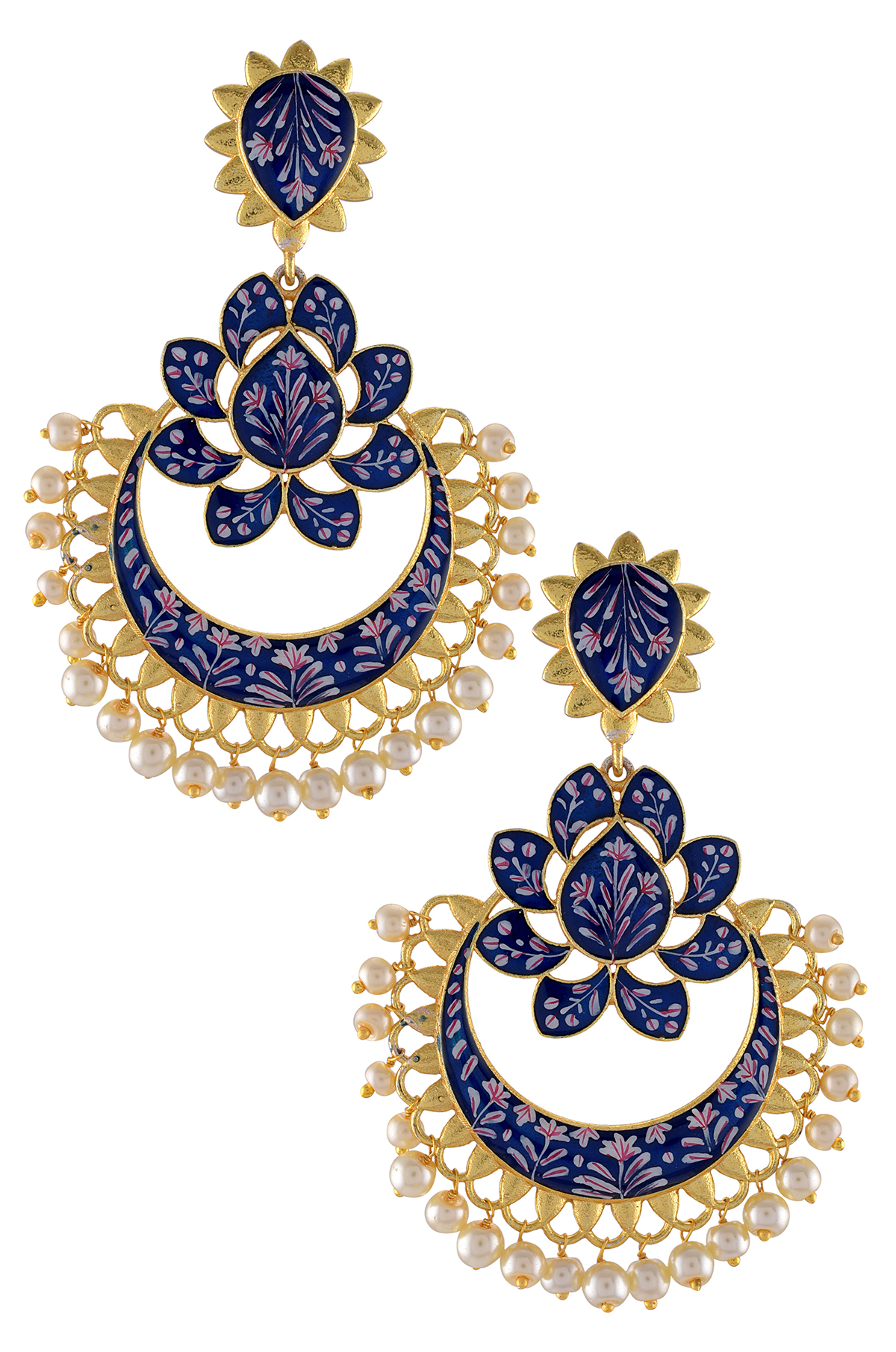 Gold Plated Blue Enamelled Lotus Pearl Drops Earrings