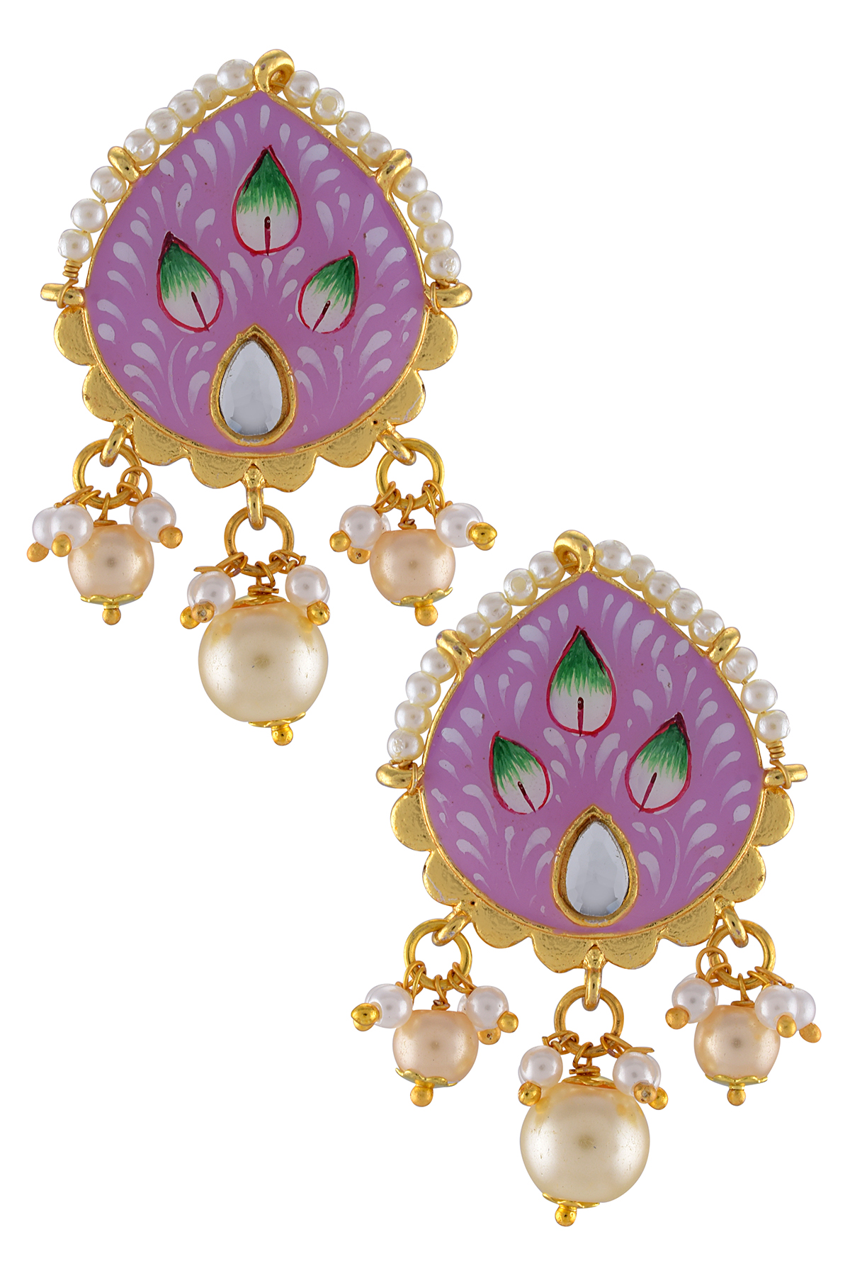 Gold Plated Pink Floral Earrings