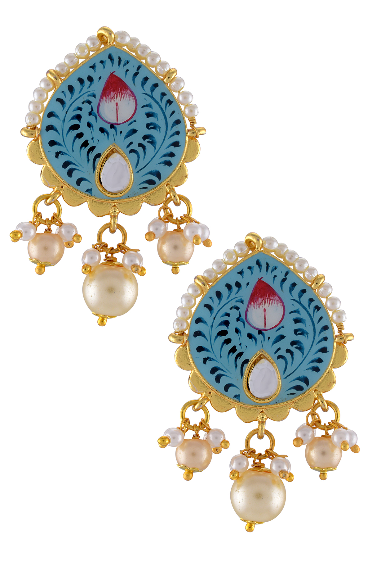 Gold Plated Sky Blue Floral Earrings