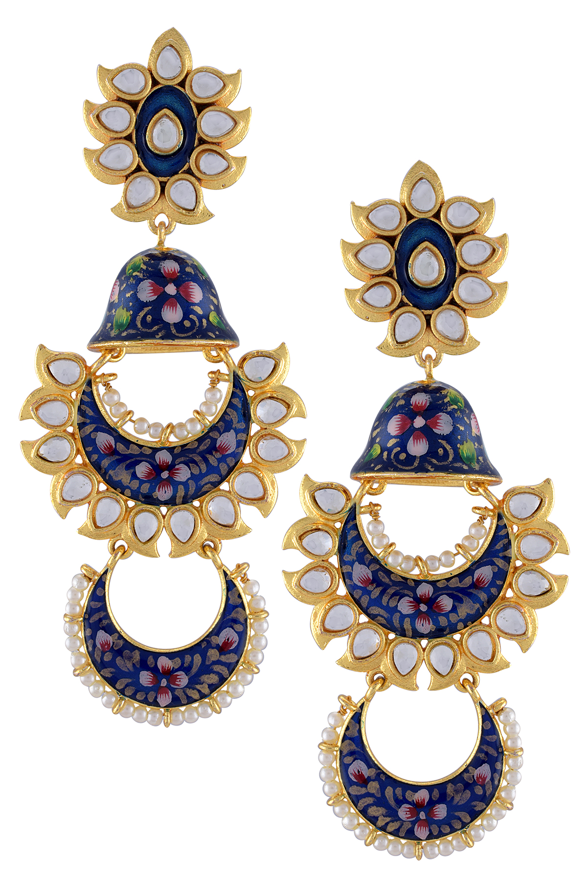 Gold Plated Dark Blue Floral Enamelled Glass Jhumki