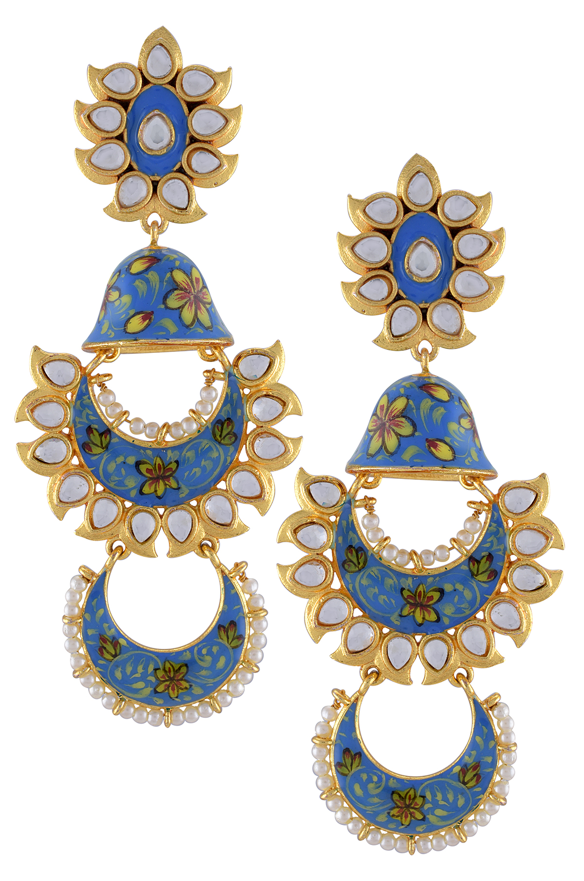Gold Plated Sky Blue Floral Enamelled Glass Jhumki