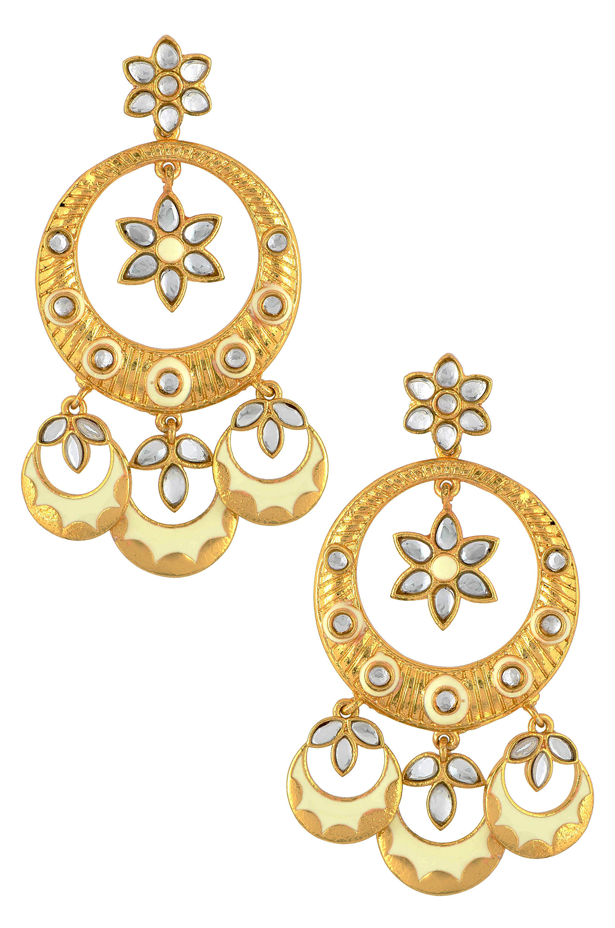 Gold Plated Enamelled White Chand Flower Earrings