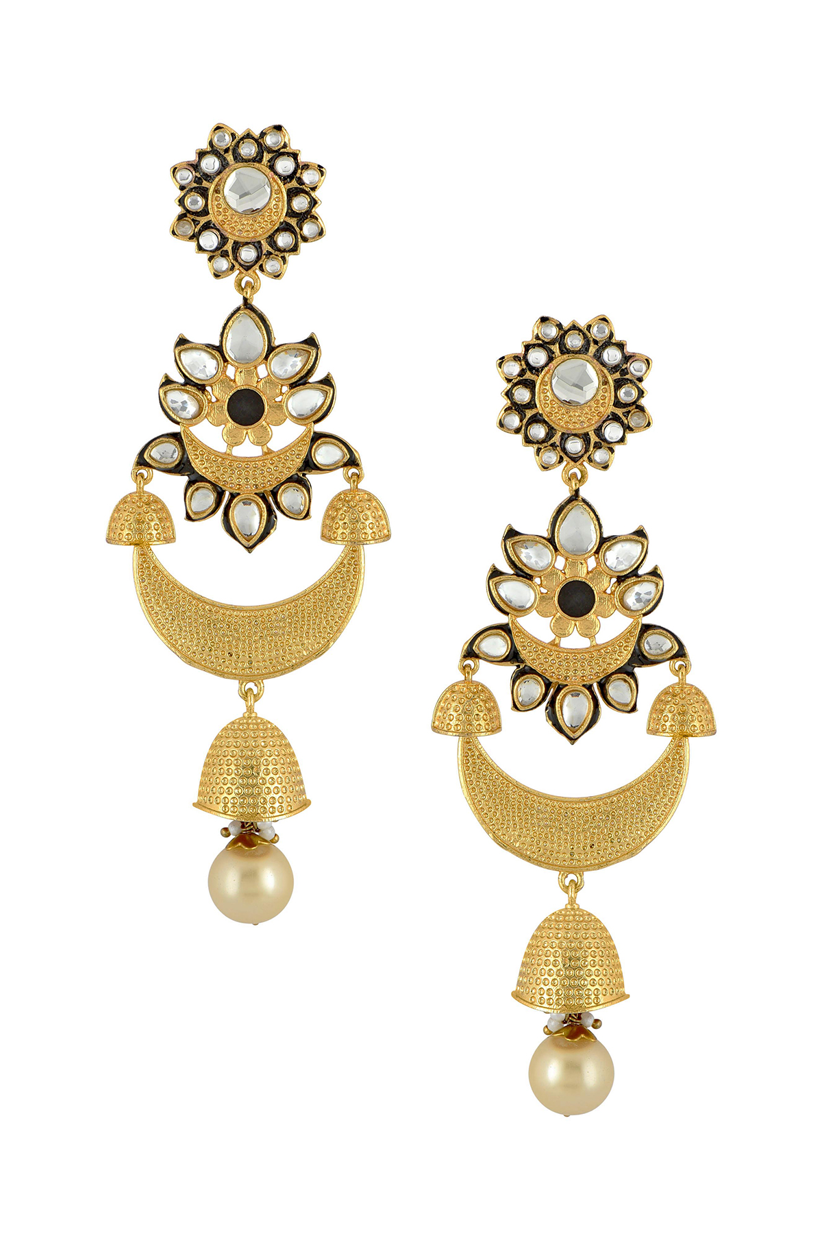Gold Plated Black Enamel Floral Textured Moon Jhumki