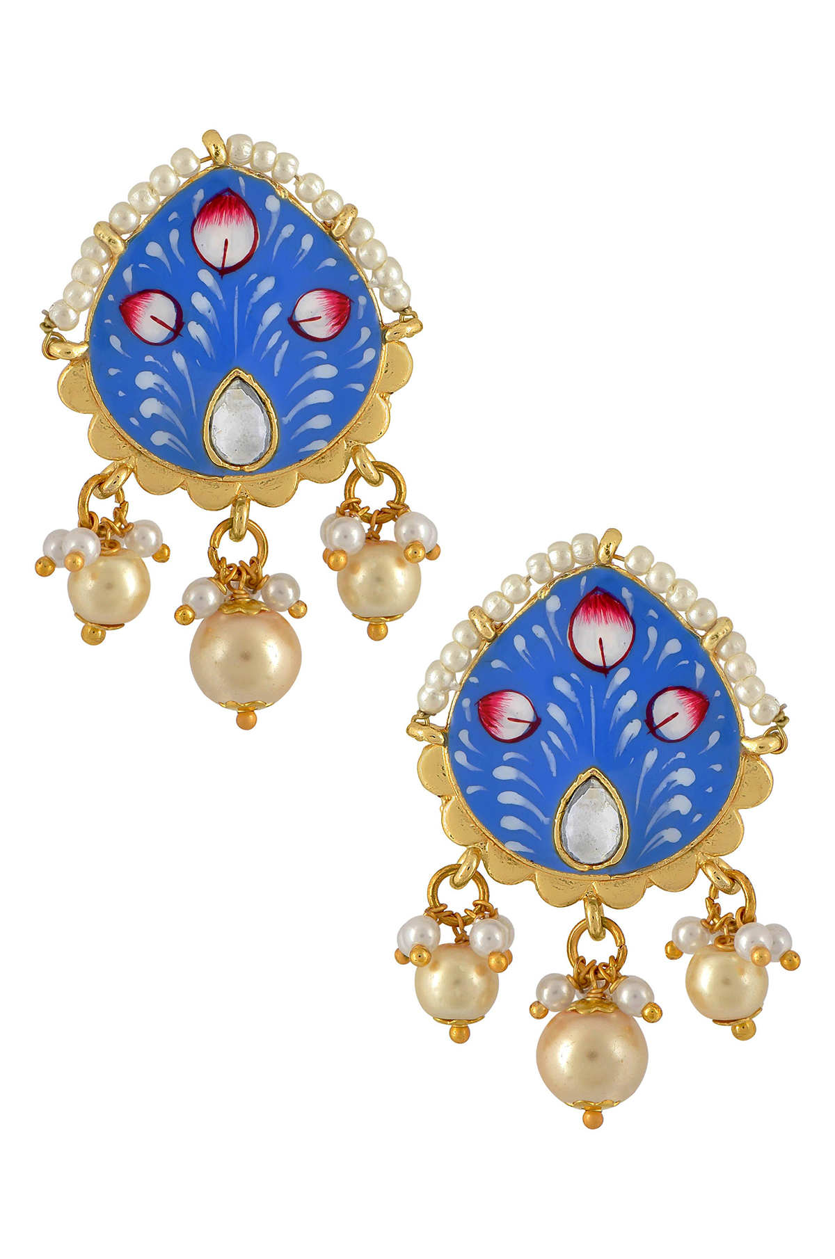 Gold Plated Blue Floral Earrings