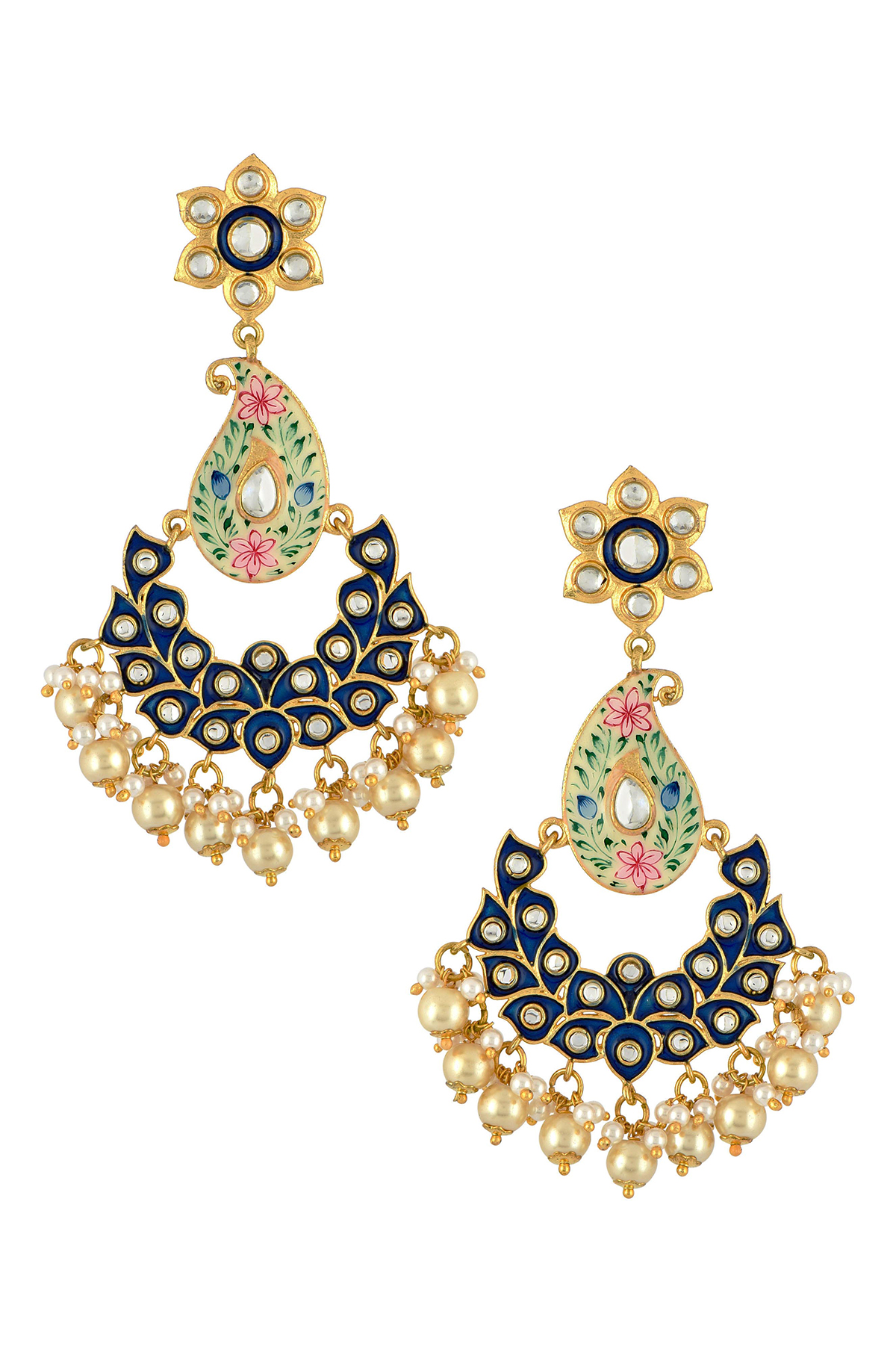 Gold Plated Paisley Dark Blue Pearl Earrings
