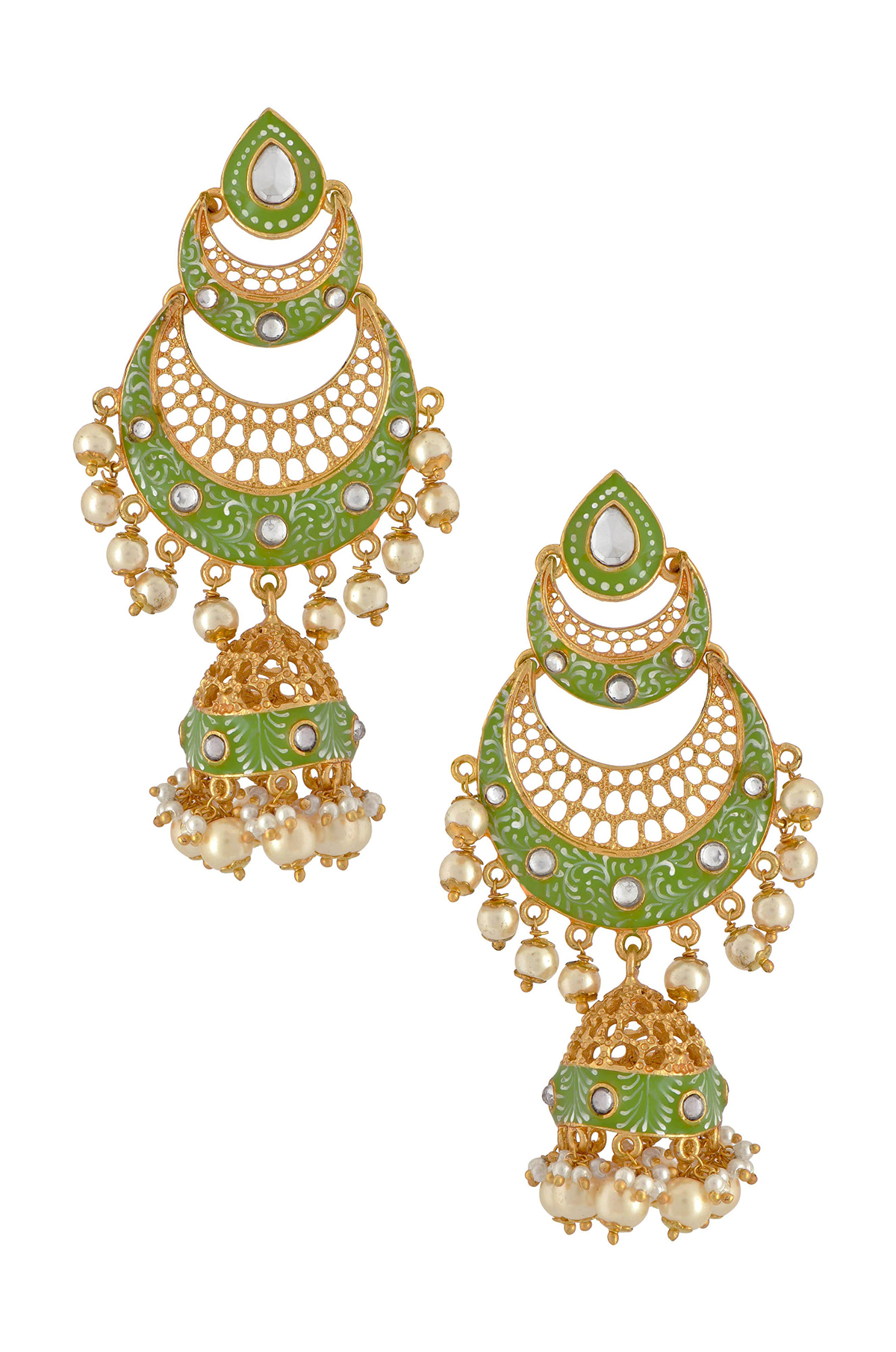 Gold Plated Green Double Crescent Moon Jhumka