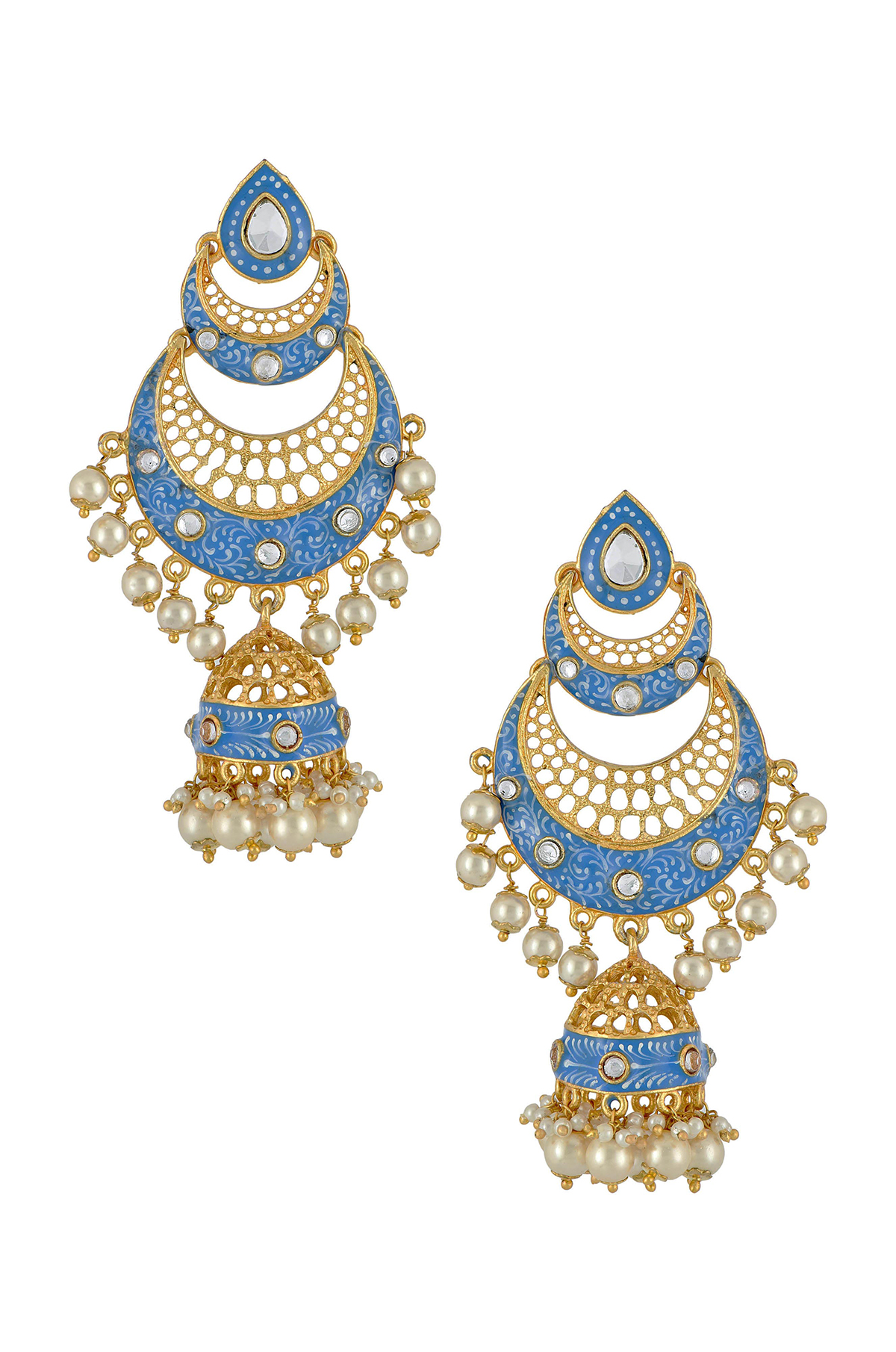 Gold Plated Blue Double Crescent Moon Jhumka