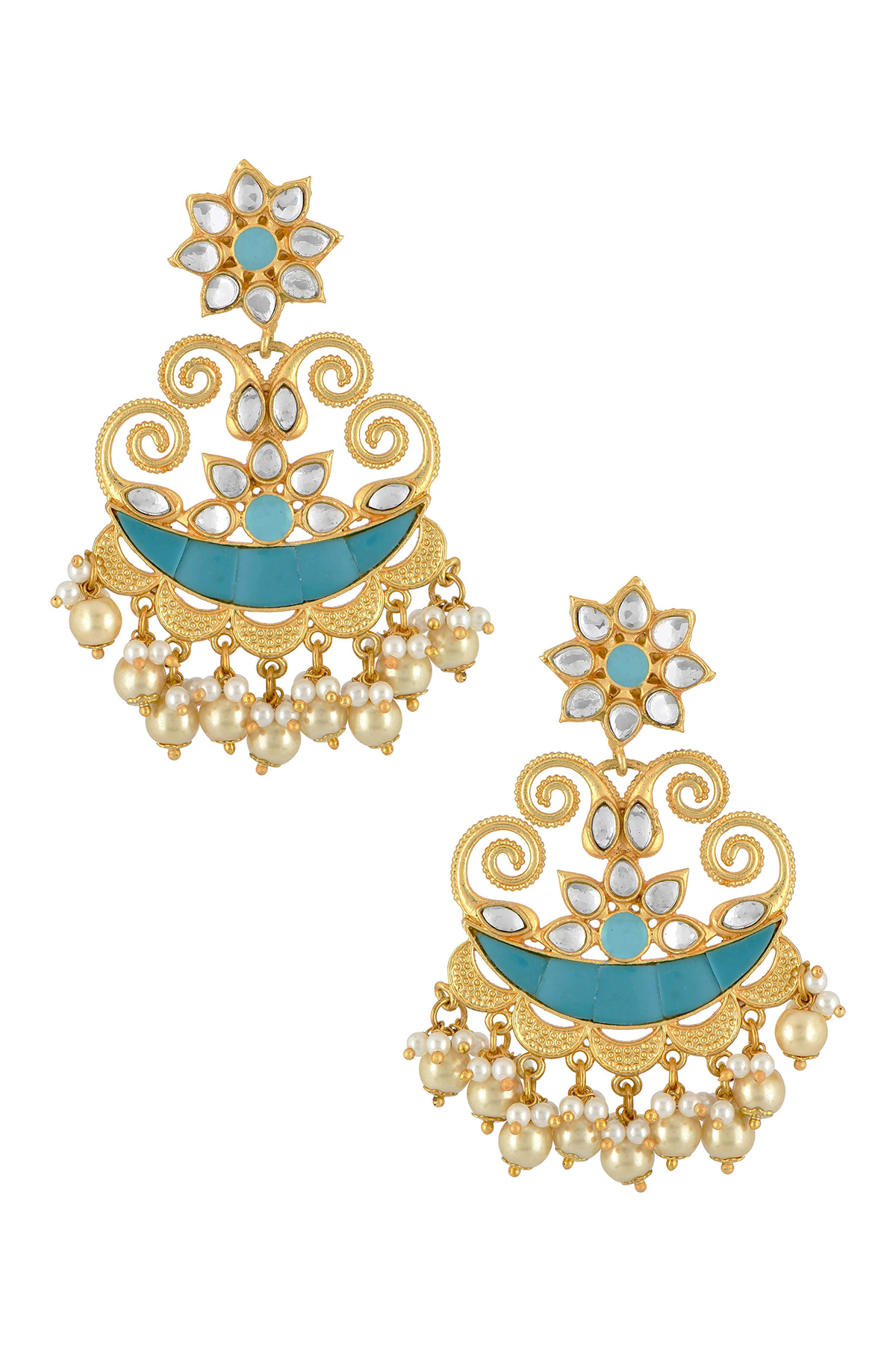 Gold Plated Turquoise Crescent Flower Pearl Drop Earrings