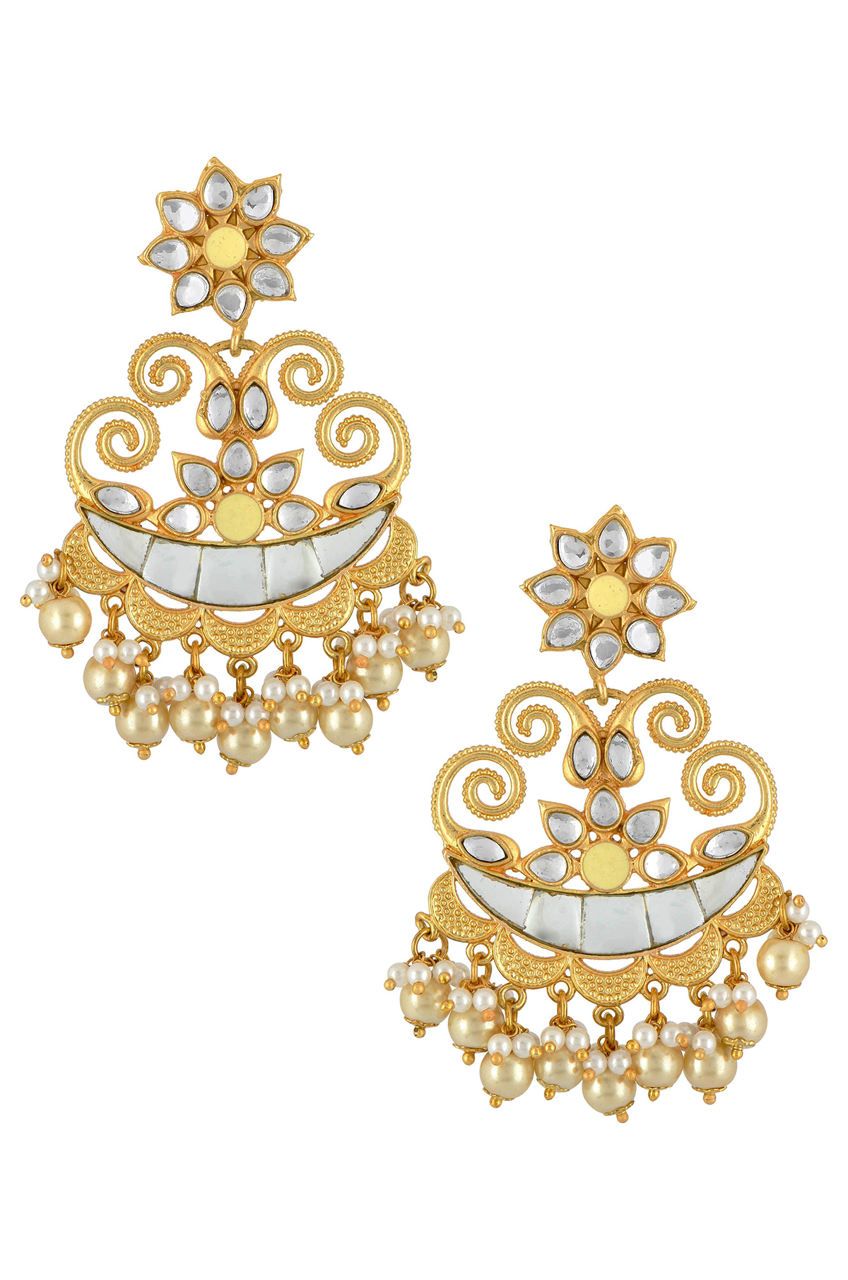Gold Plated White Crescent Flower Pearl Drop Earrings