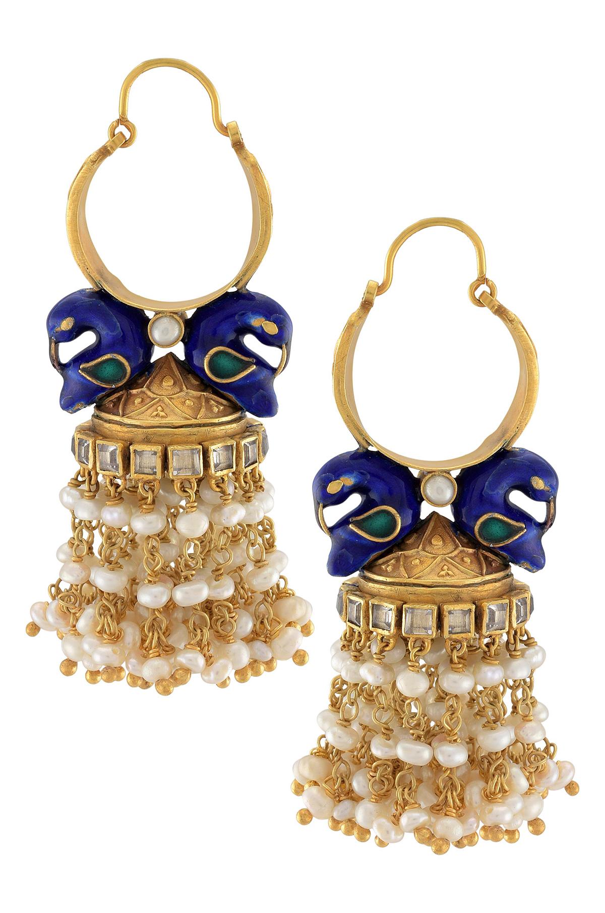 Silver Pearl Cluster Peacock Hoop Earrings